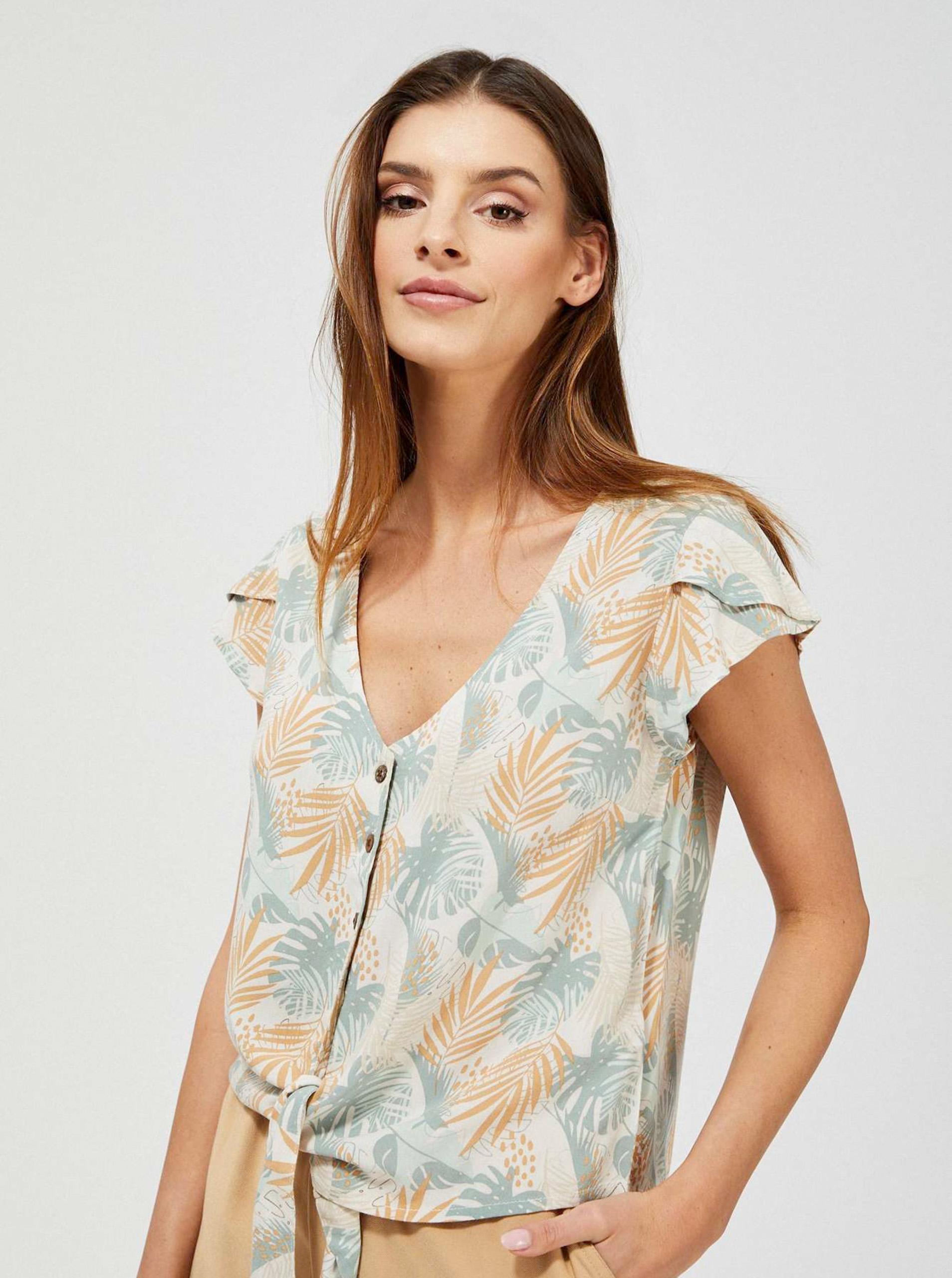 Moodo beżowy bluzka z motywem kwiecistym