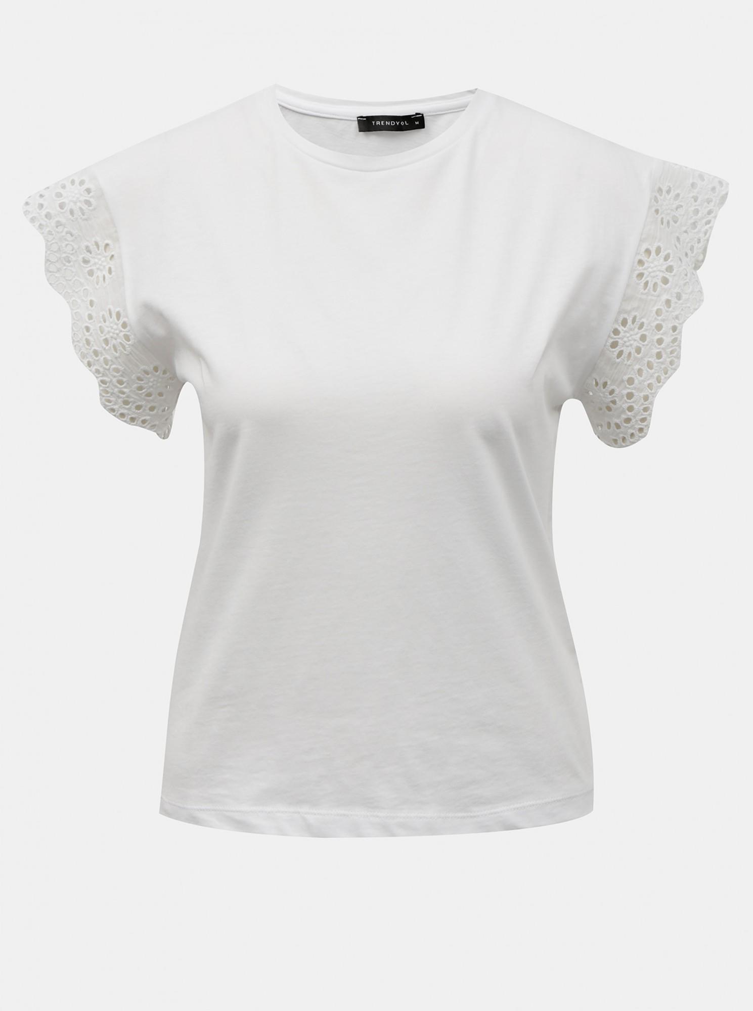 Trendyol biały bluzka z madeirą