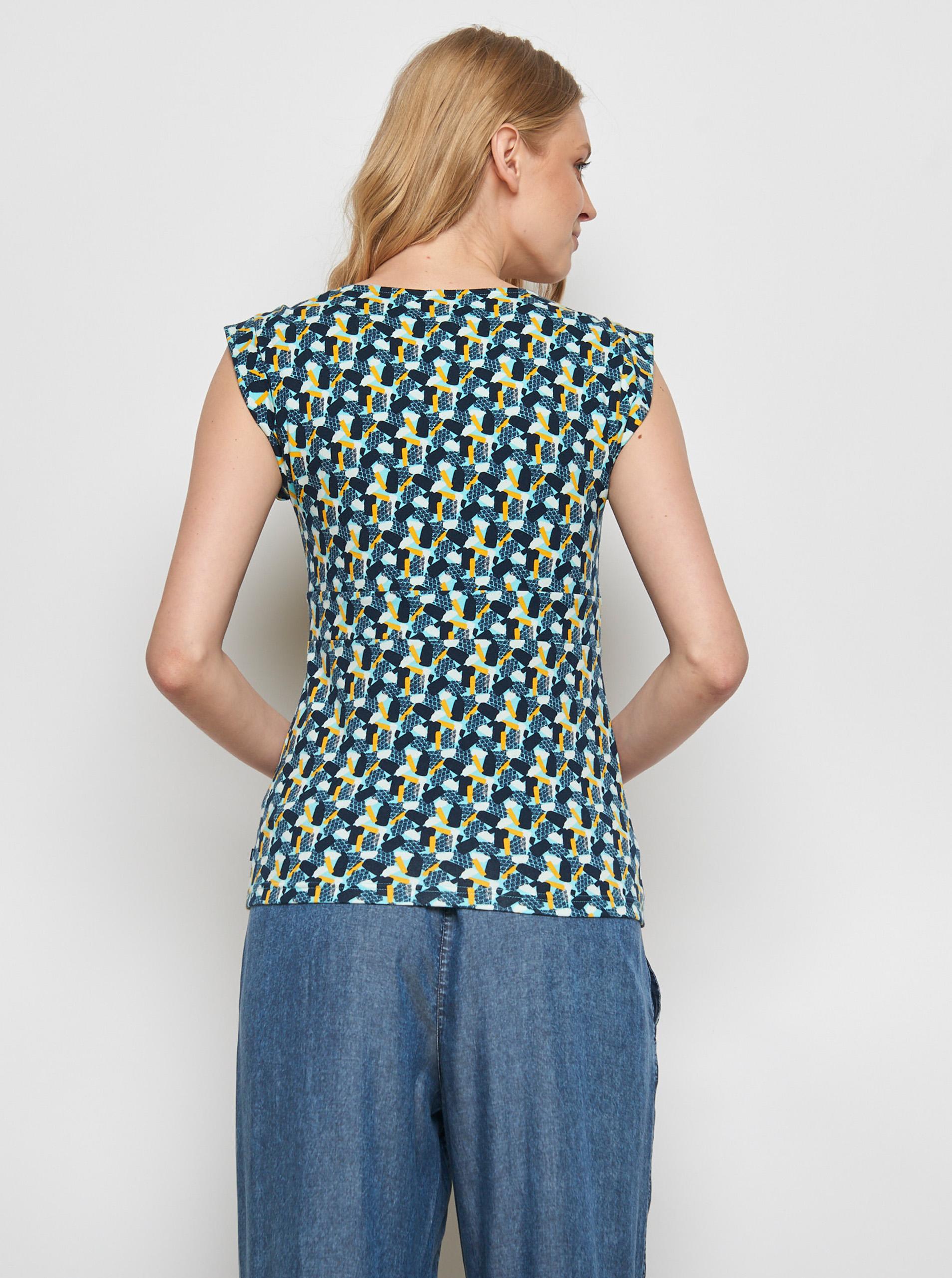 Granatowy wzorzysty T-shirt Tranquillo