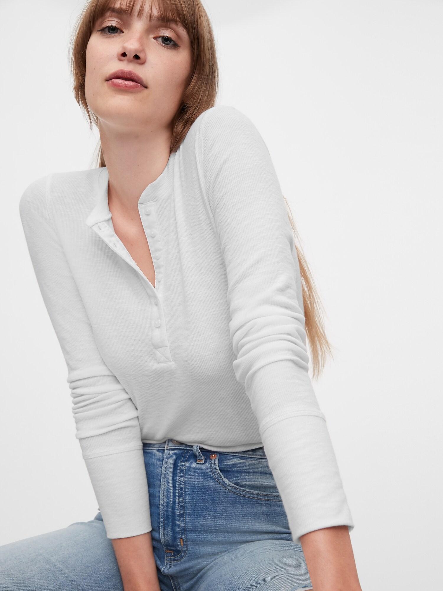 GAP Koszulka damska biały  Ribbed
