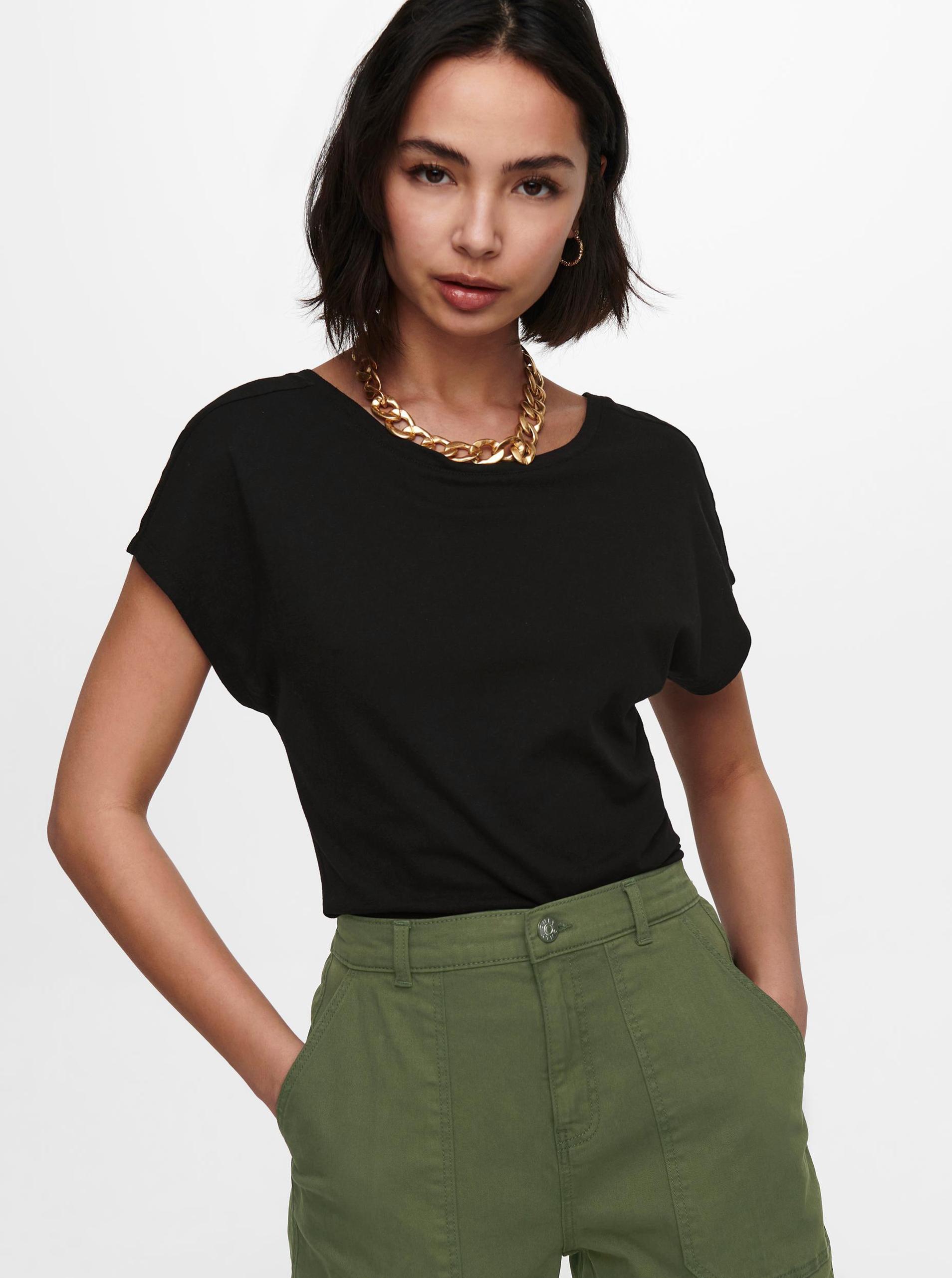 Only czarny damska koszulka Ama