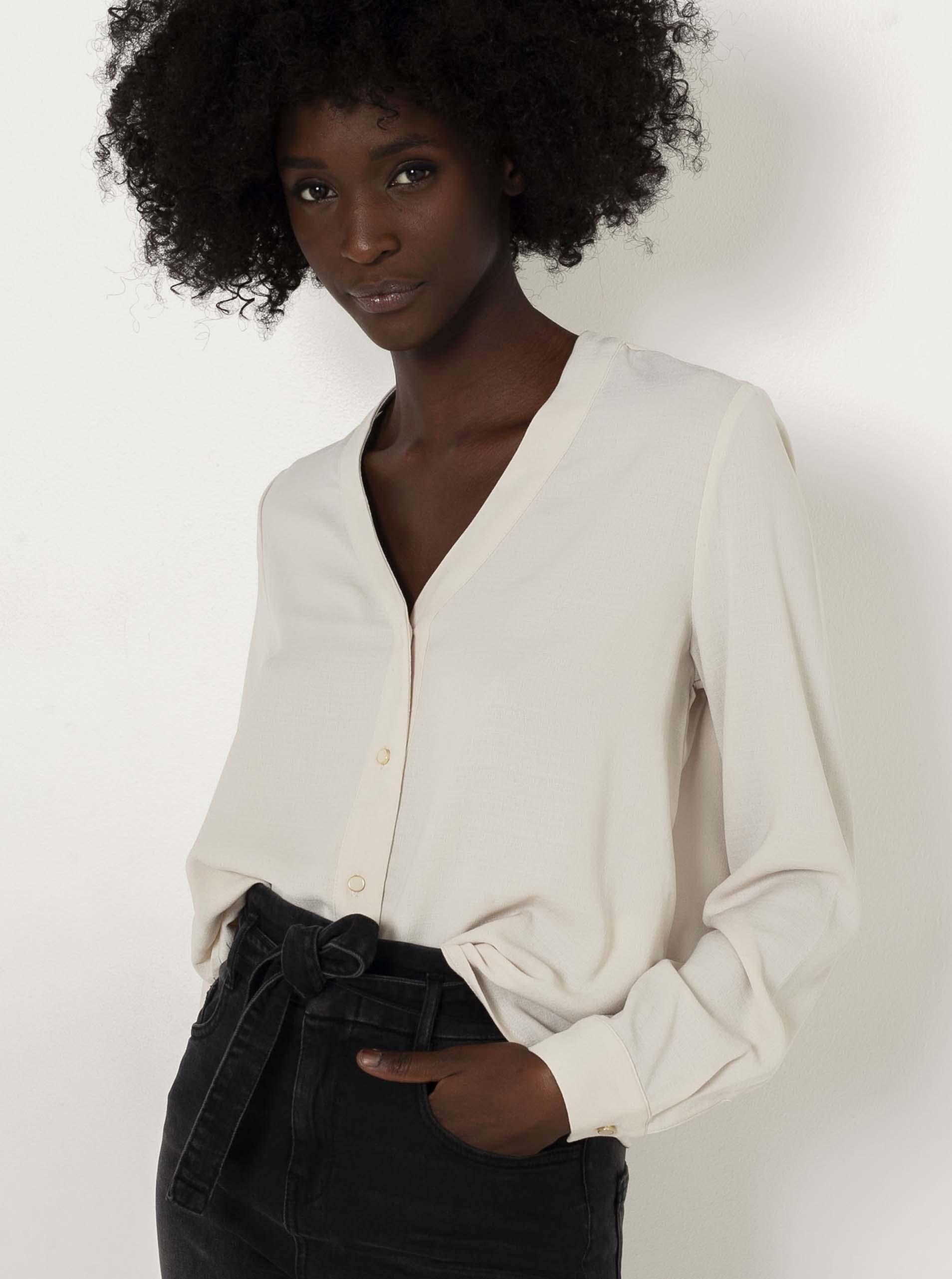 CAMAIEU écru/kremowy damska bluzka
