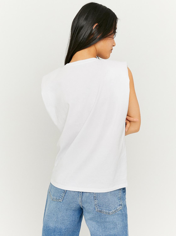Tally Weijl biały top z nadrukiem z poduszkami na ramionach