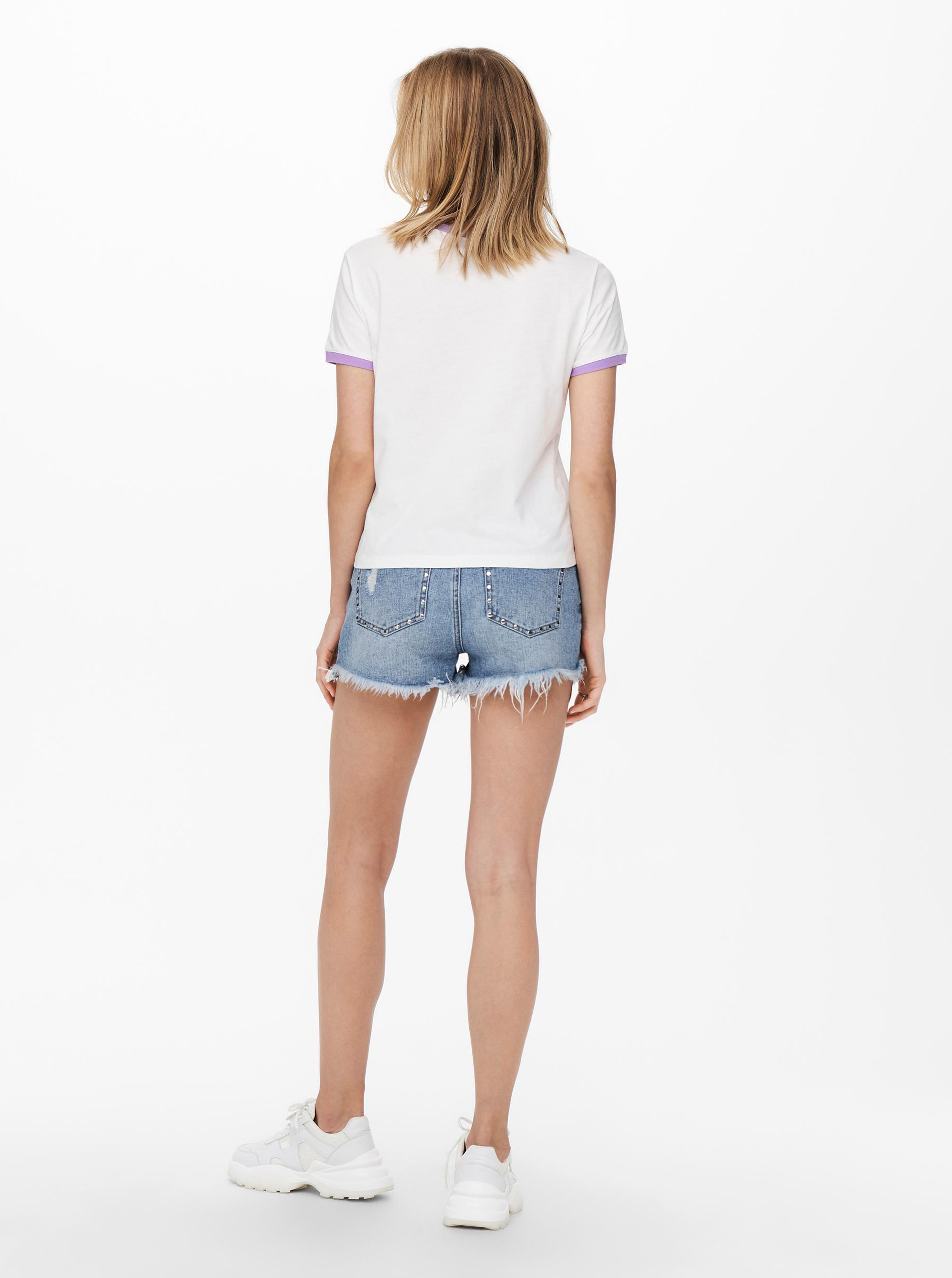Jacqueline de Yong biały koszulka Nuka z nadrukiem