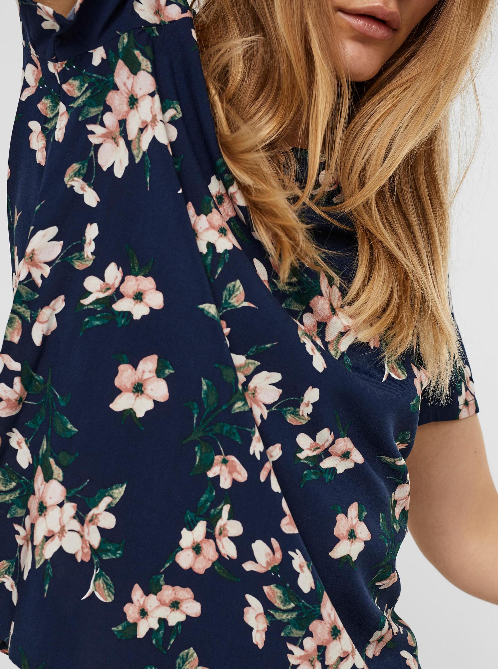 Vero Moda niebieski bluzka Easy z motywem kwiecistym