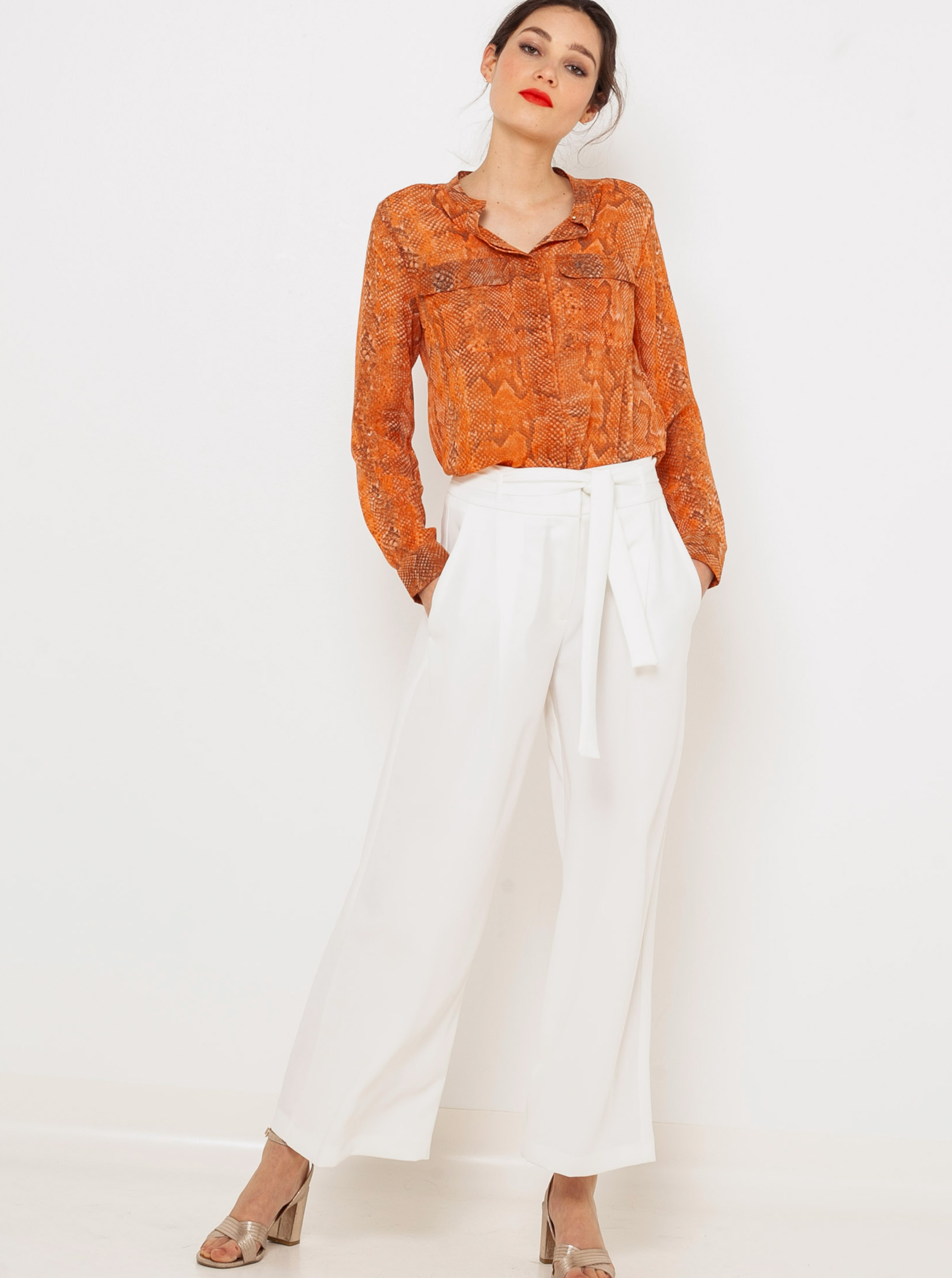 CAMAIEU pomarańczowy bluzka z wzorem