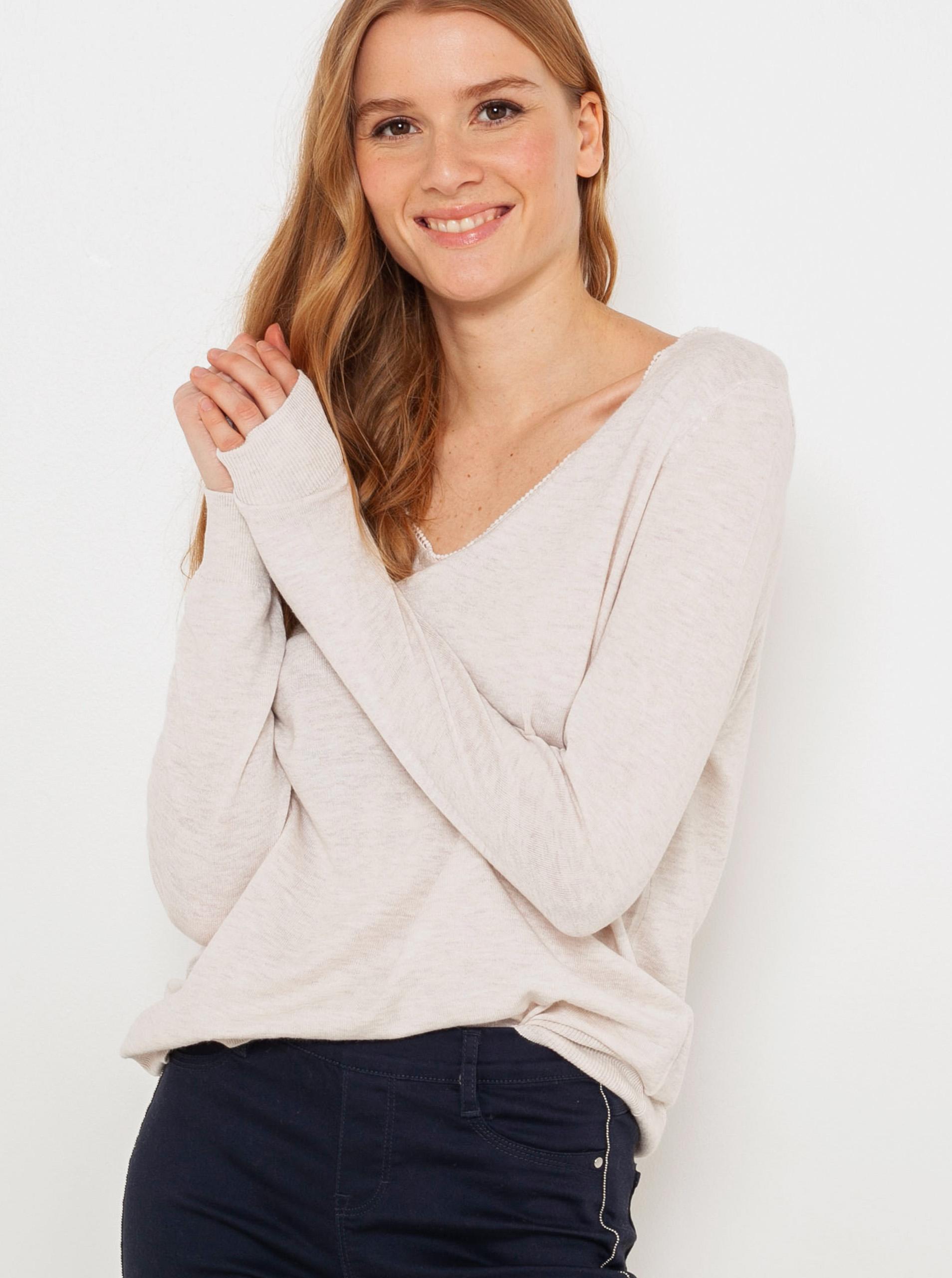 CAMAIEU écru/kremowy damska koszulka