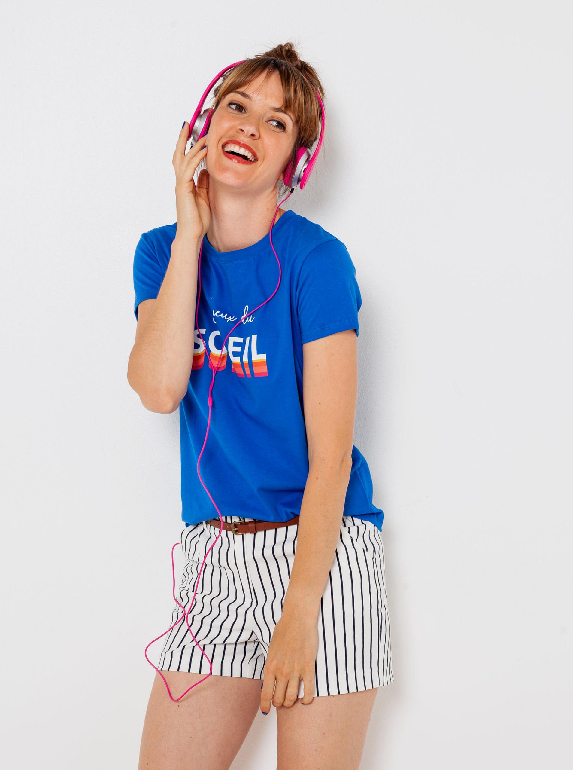 CAMAIEU Koszulka damska niebieski