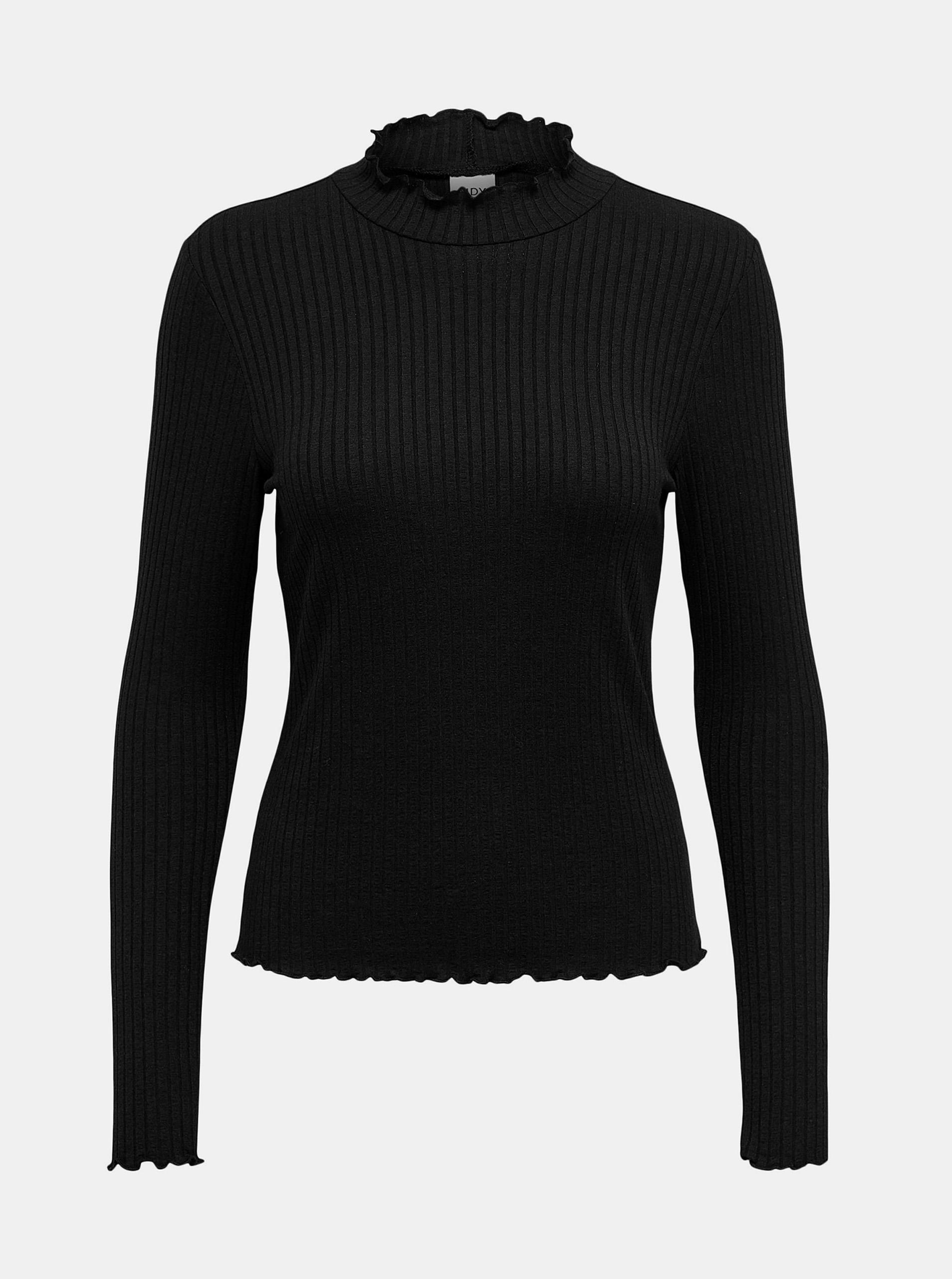 Jacqueline de Yong czarny koszulka Fransiska z golfem
