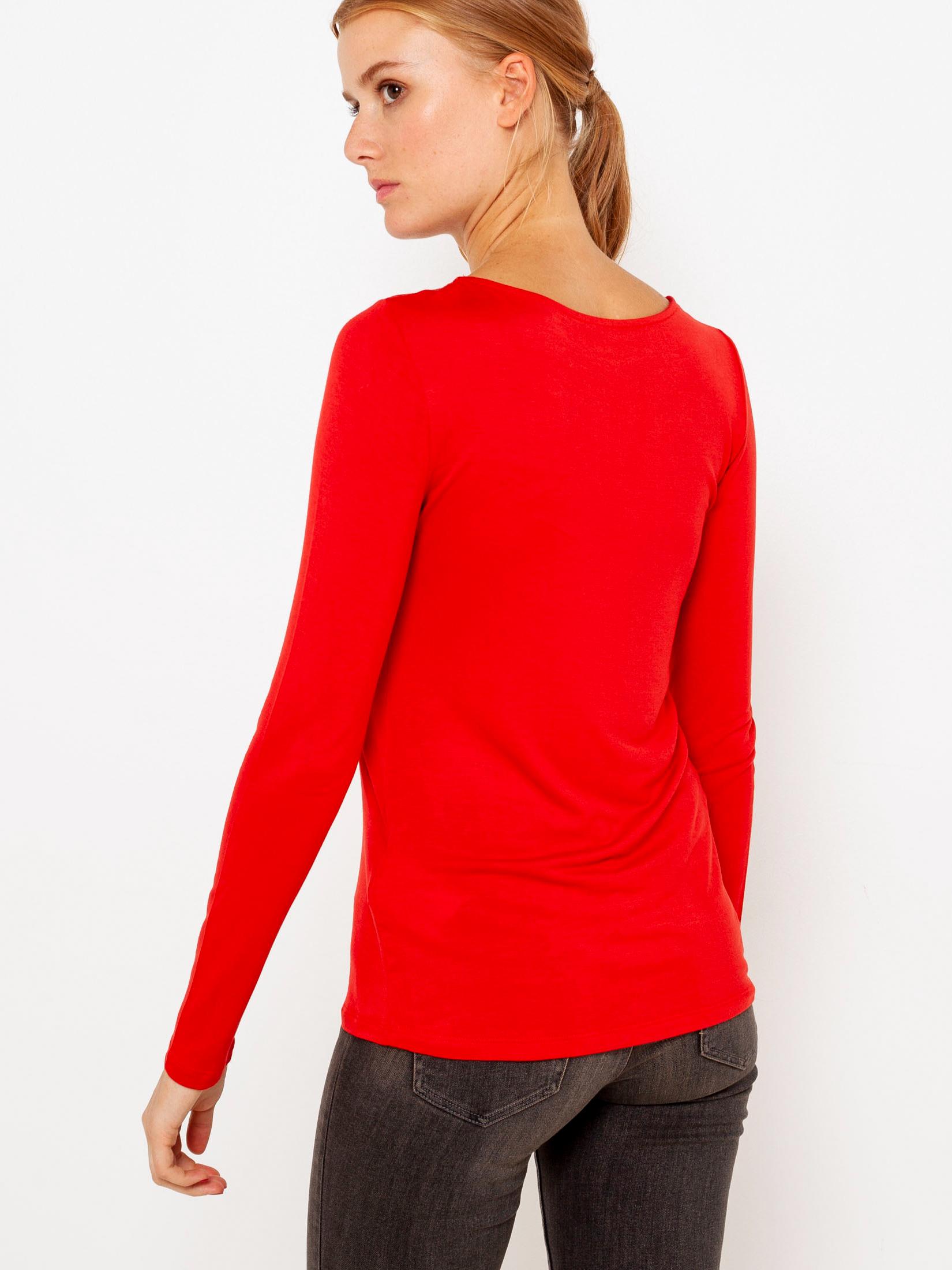 CAMAIEU czerwony damska koszulka z koronką