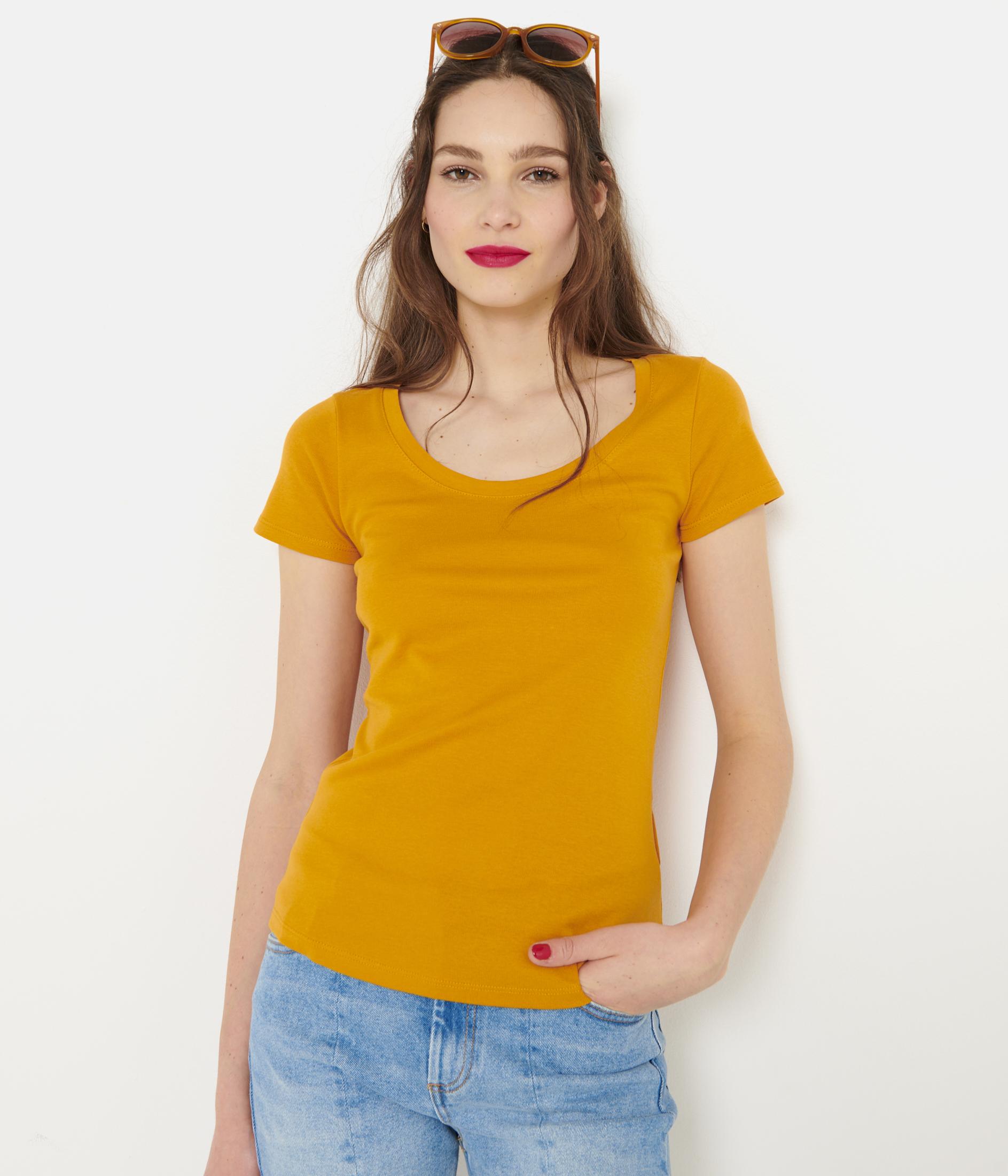 CAMAIEU Koszulka damska pomarańczowy