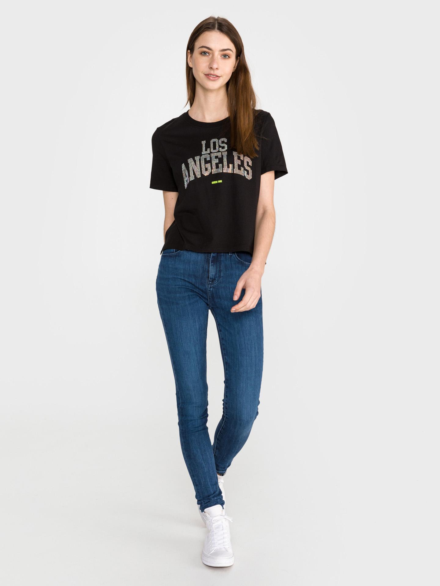 Guess czarny koszulka Glam