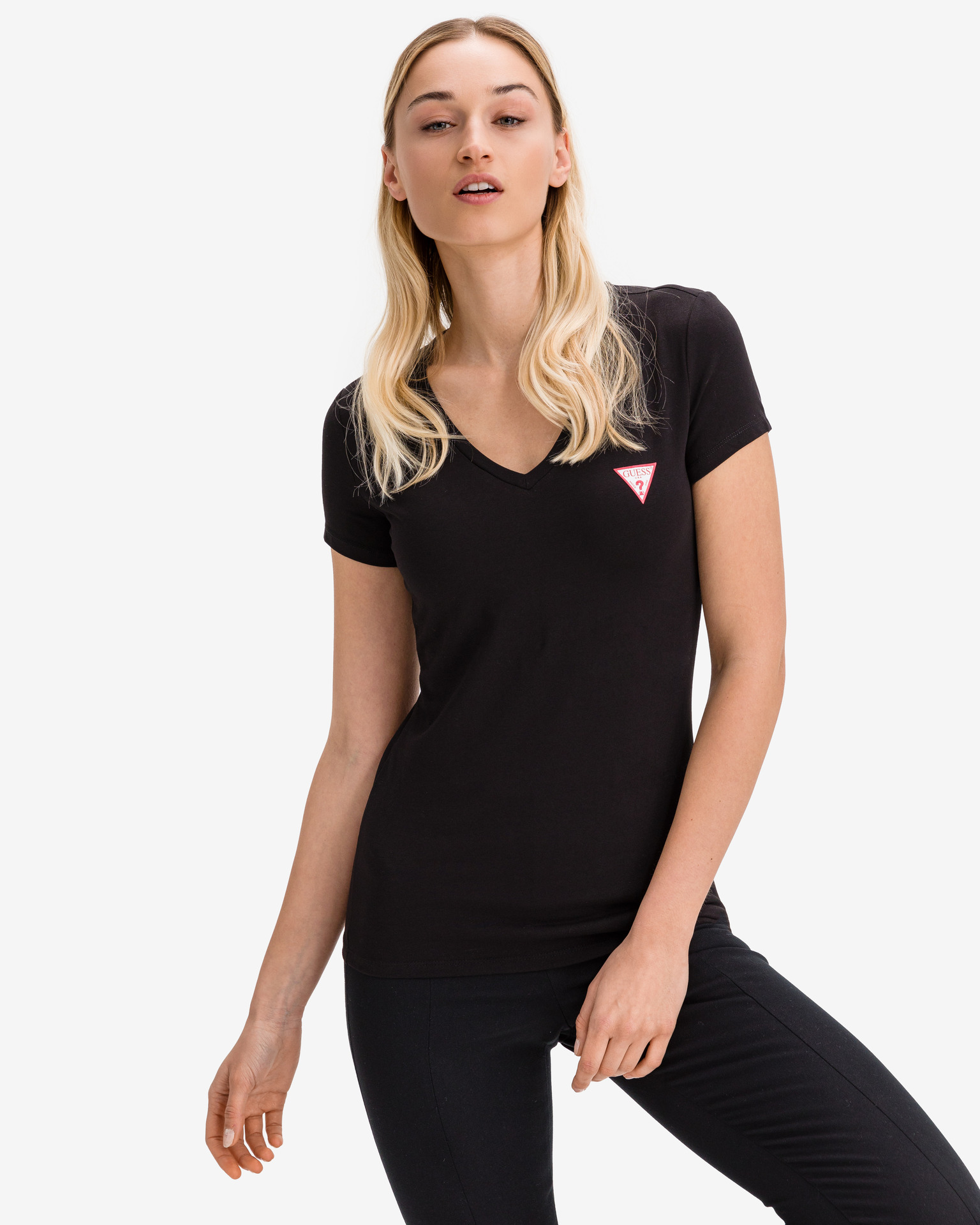 Guess czarny koszulka Mini Triangle