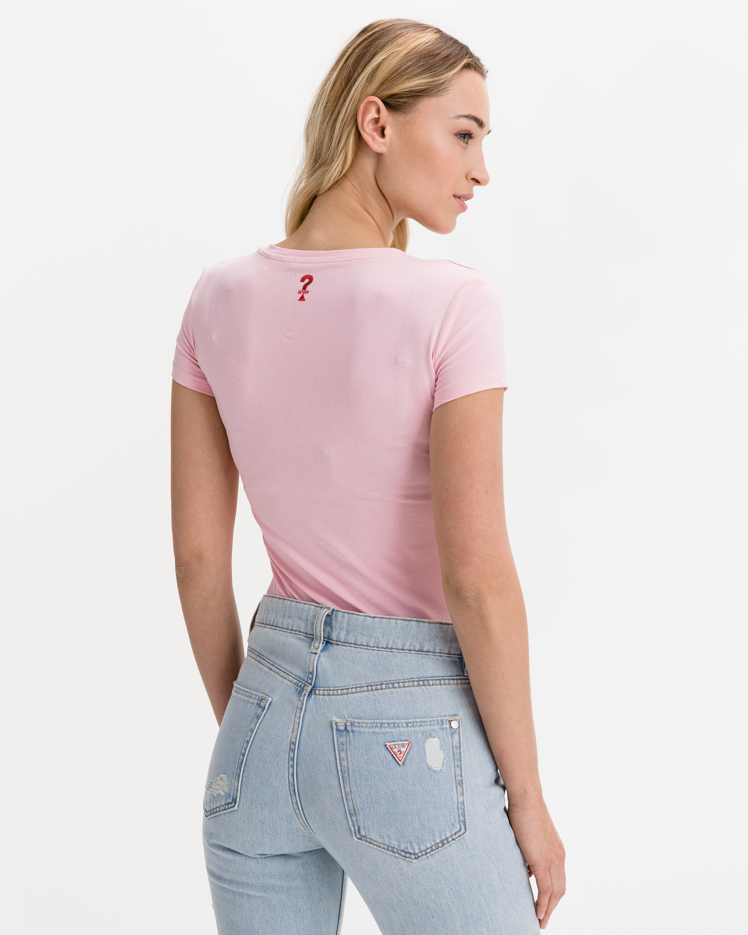 Guess różowy koszulka Mini Triangle