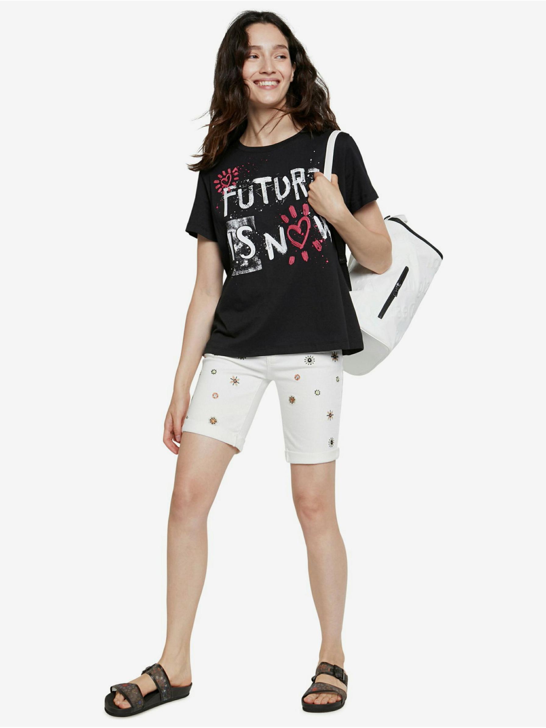 Desigual czarny koszulka Future Is Now