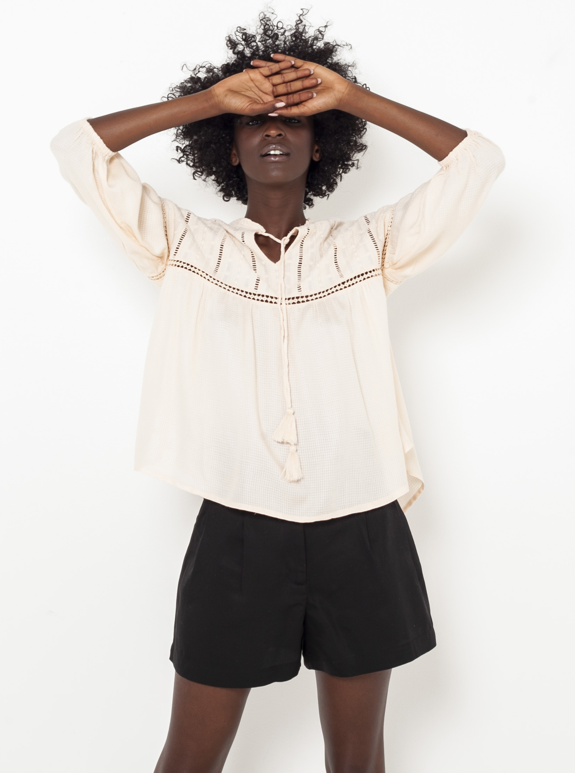 CAMAIEU écru/kremowy bluzka