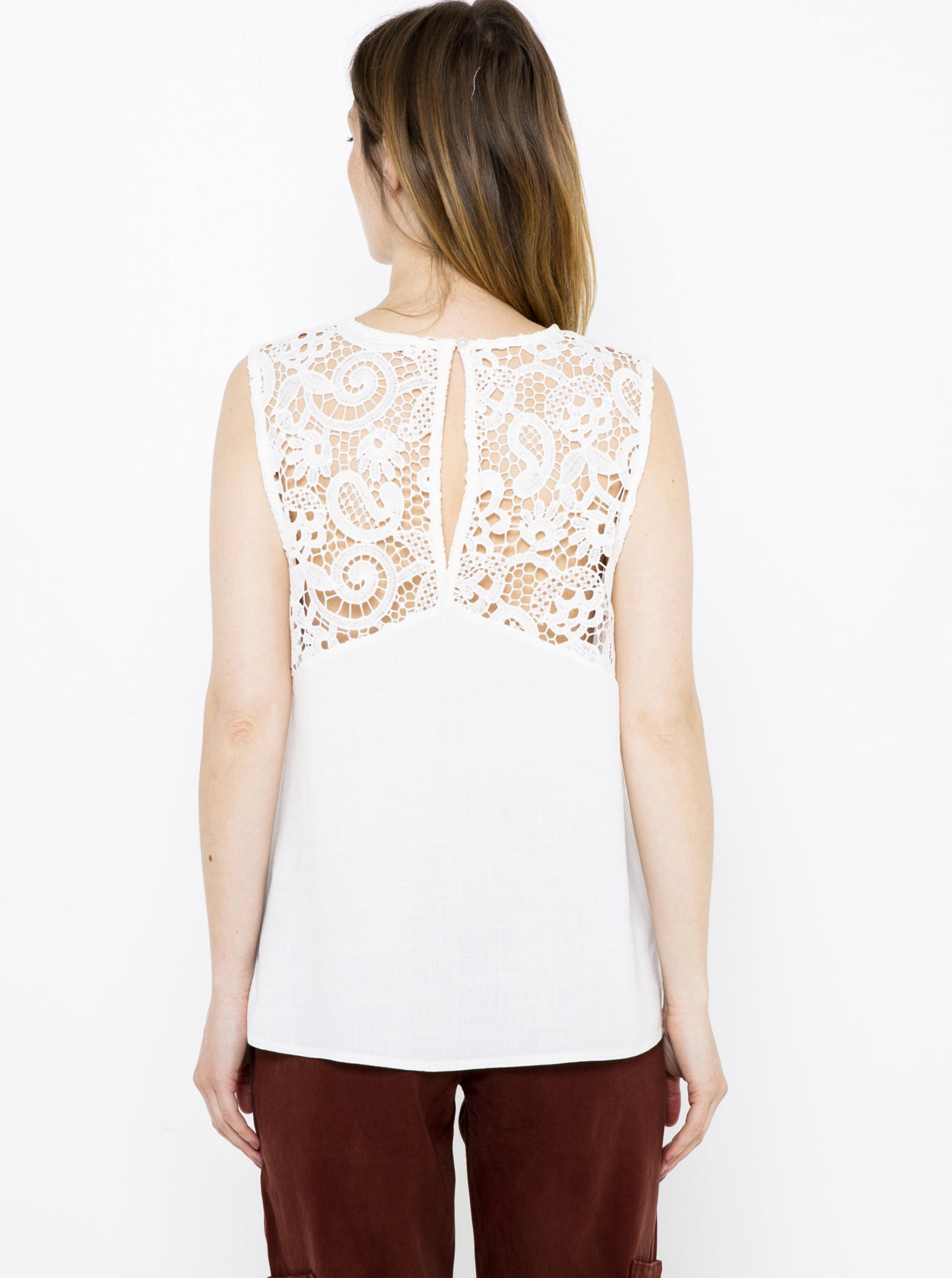 CAMAIEU biały bluzka z koronką