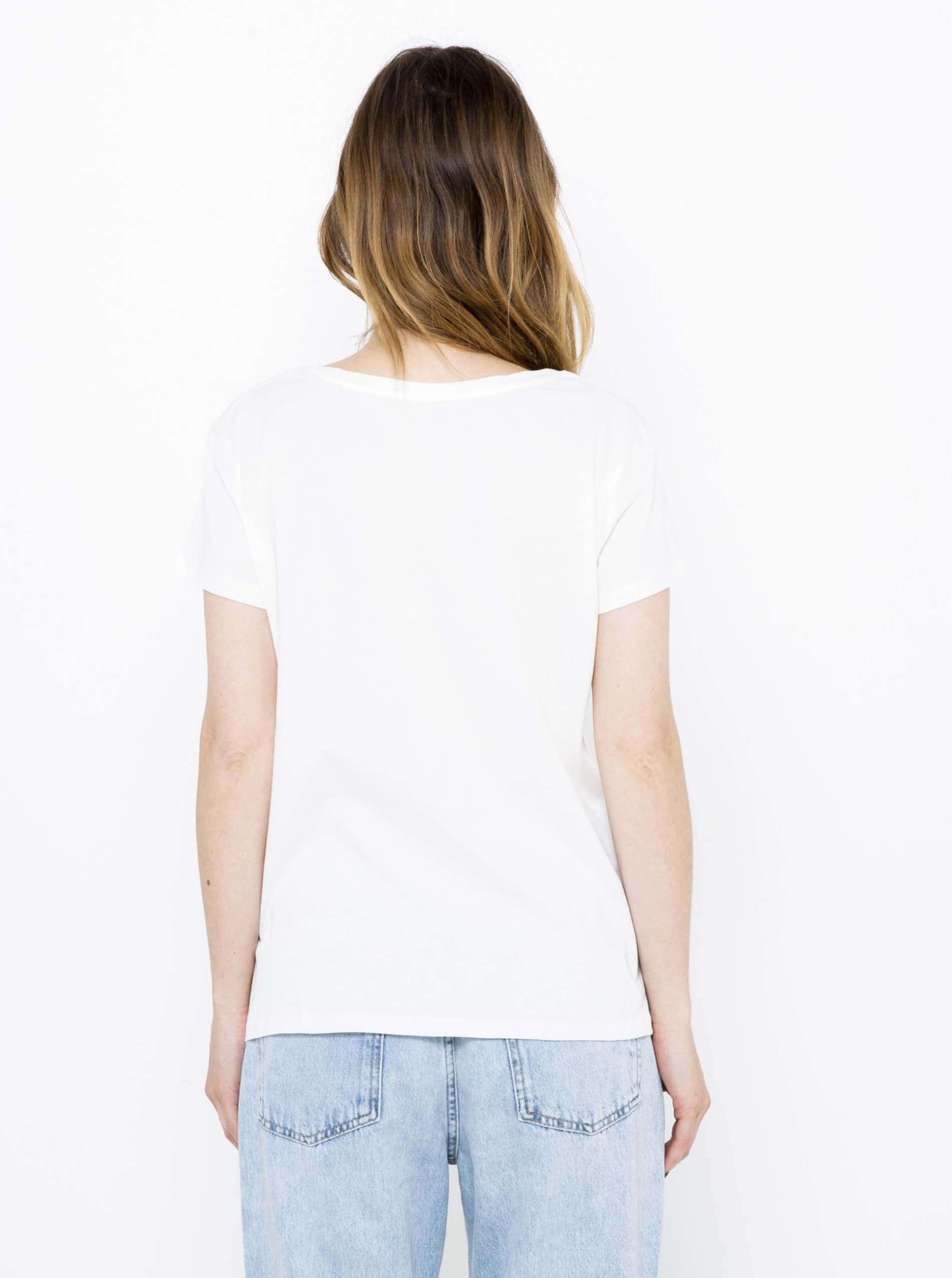 CAMAIEU biały koszulka z napisem
