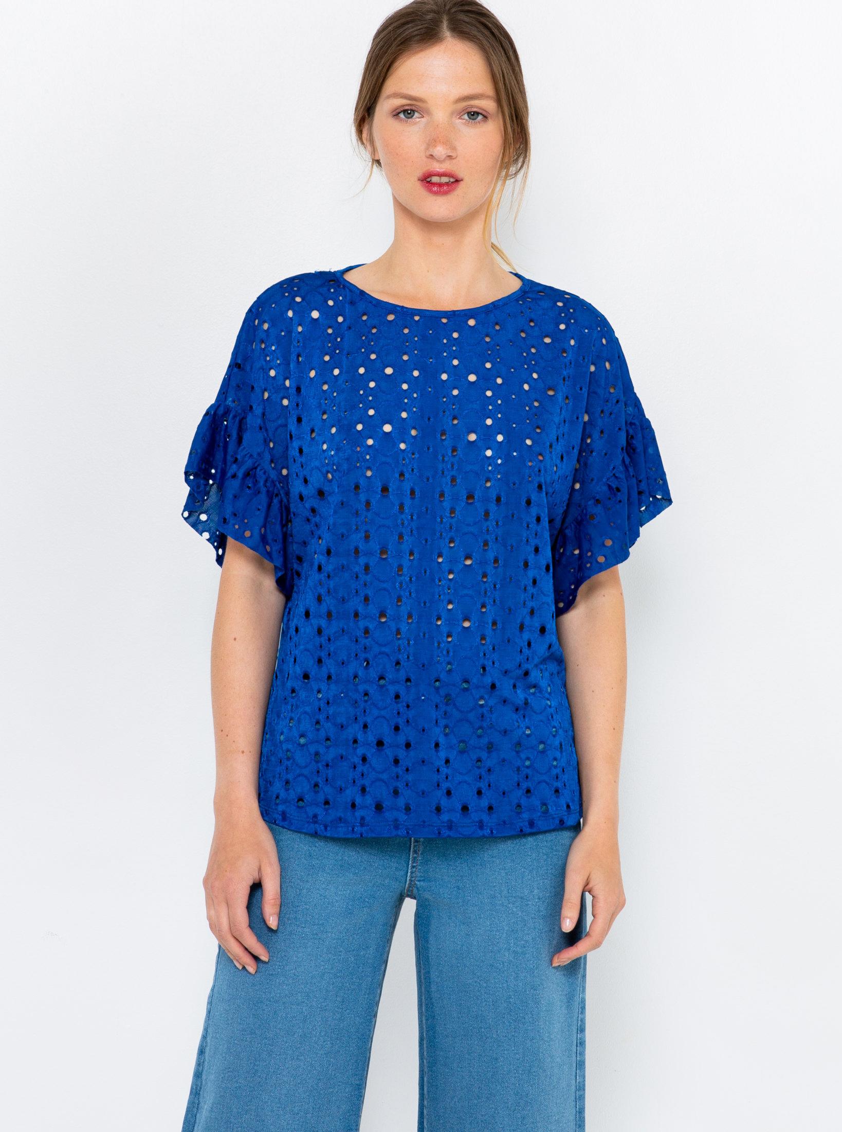 CAMAIEU niebieski bluzka z madeirą