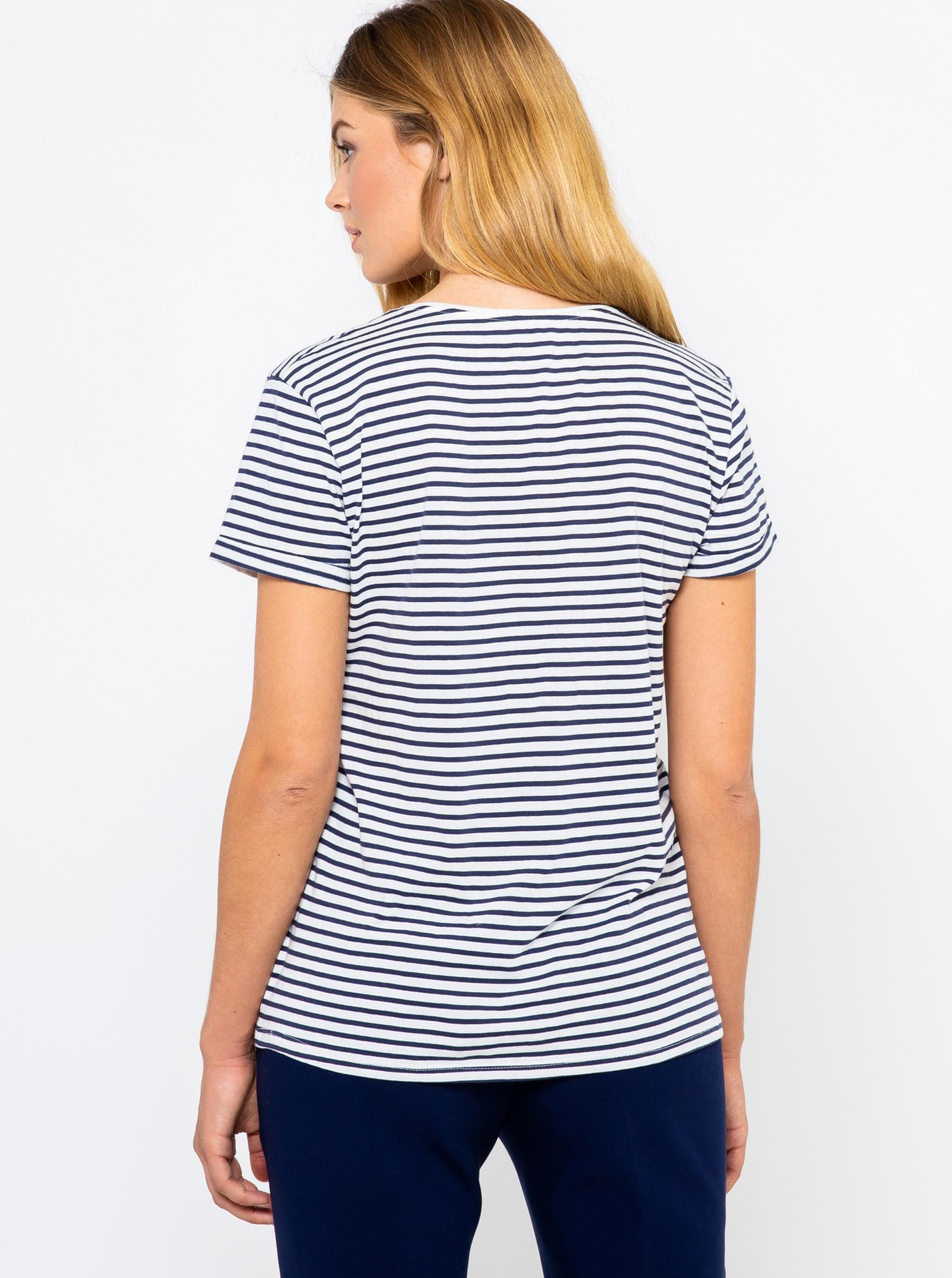 CAMAIEU biały basic w paski koszulka
