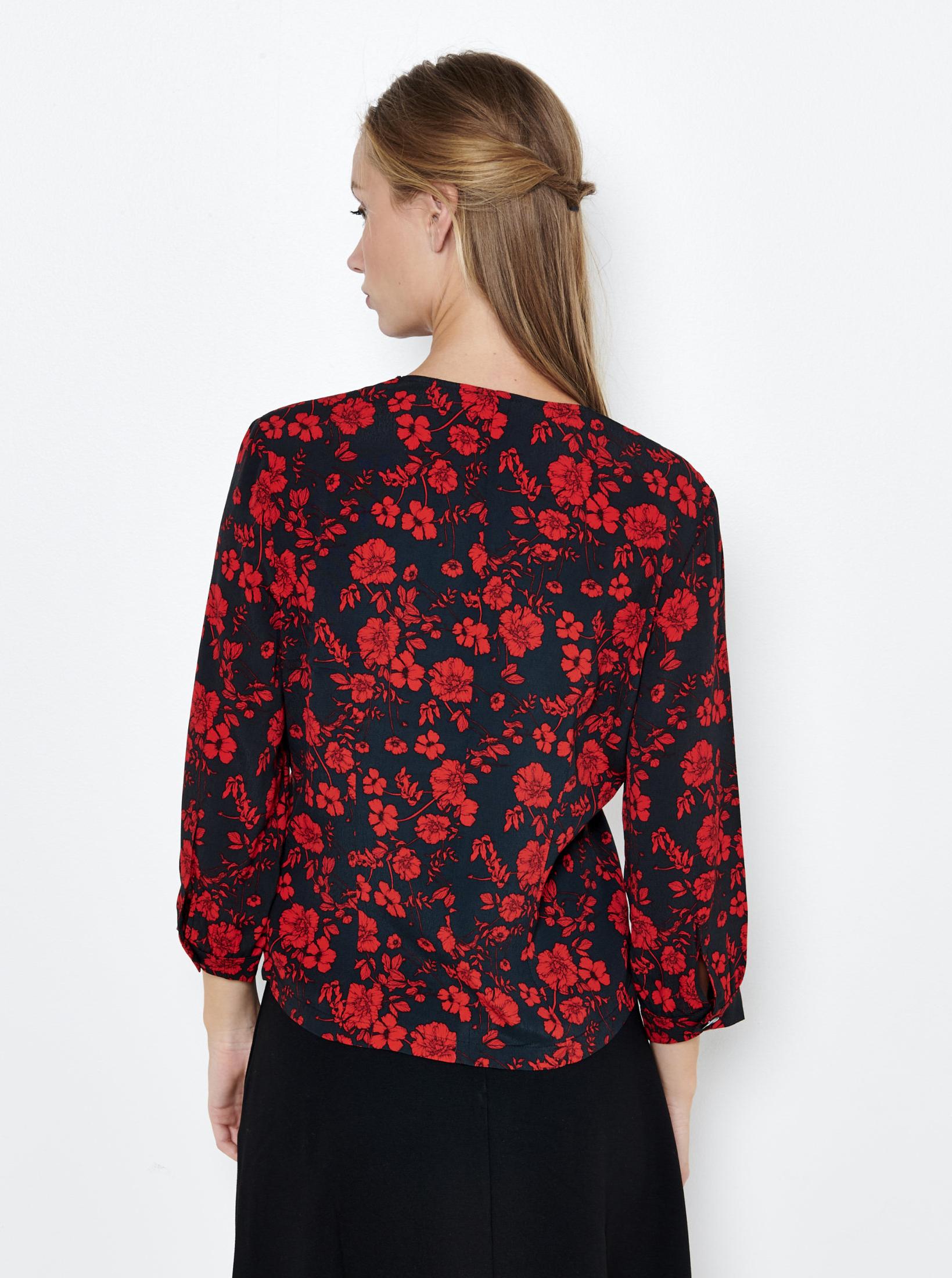 CAMAIEU czarny bluzka z motywem kwiecistym