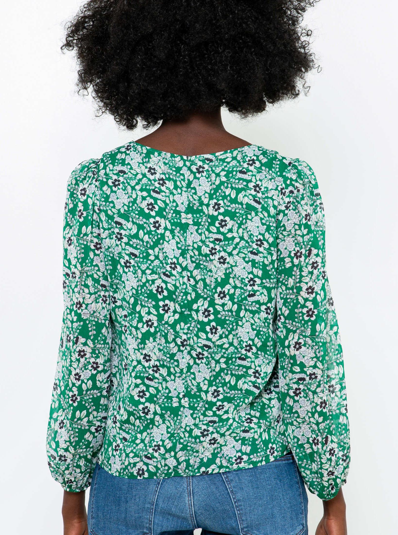 CAMAIEU zielony bluzka z motywem kwiecistym