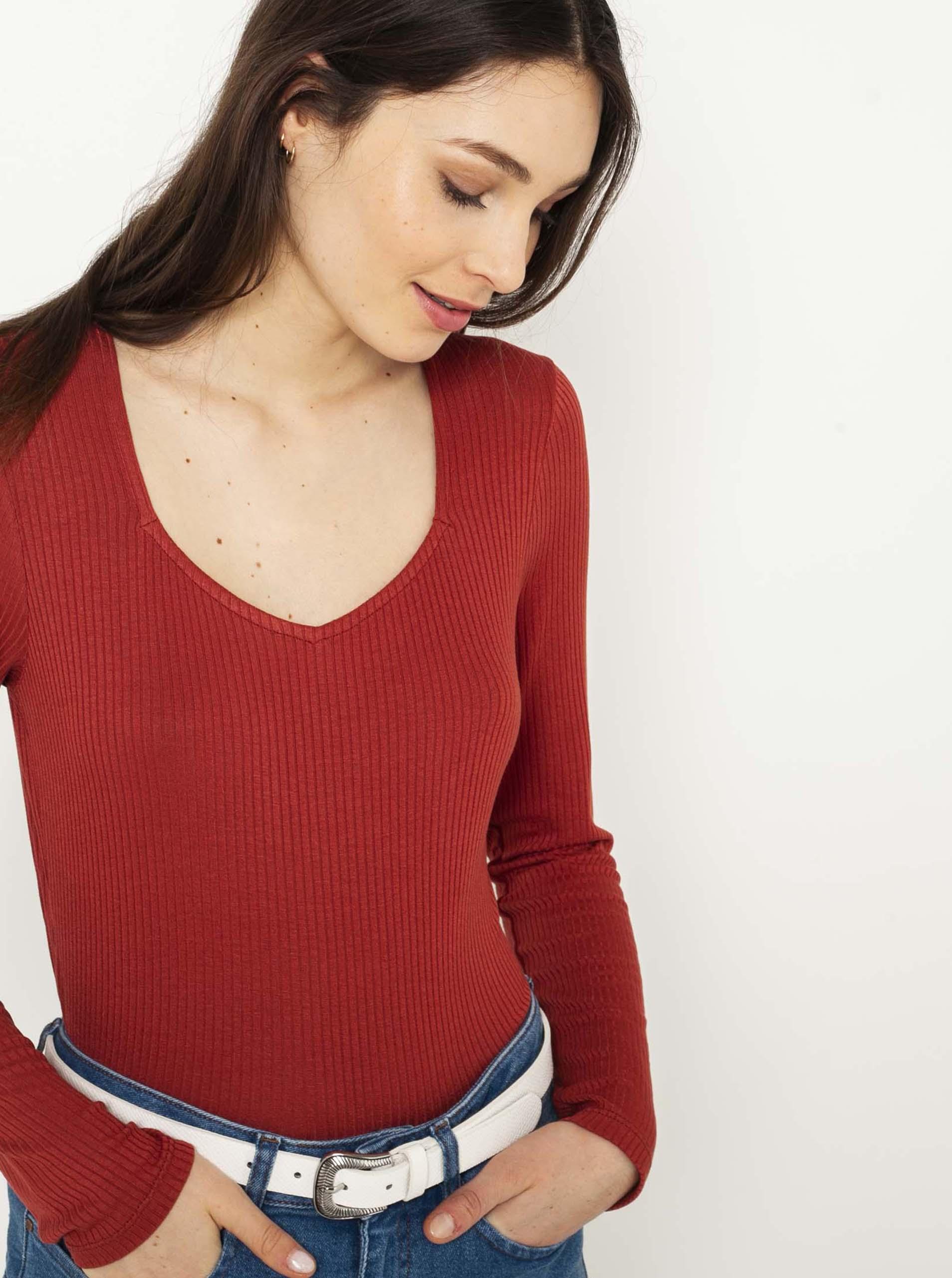 CAMAIEU czerwony damska koszulka