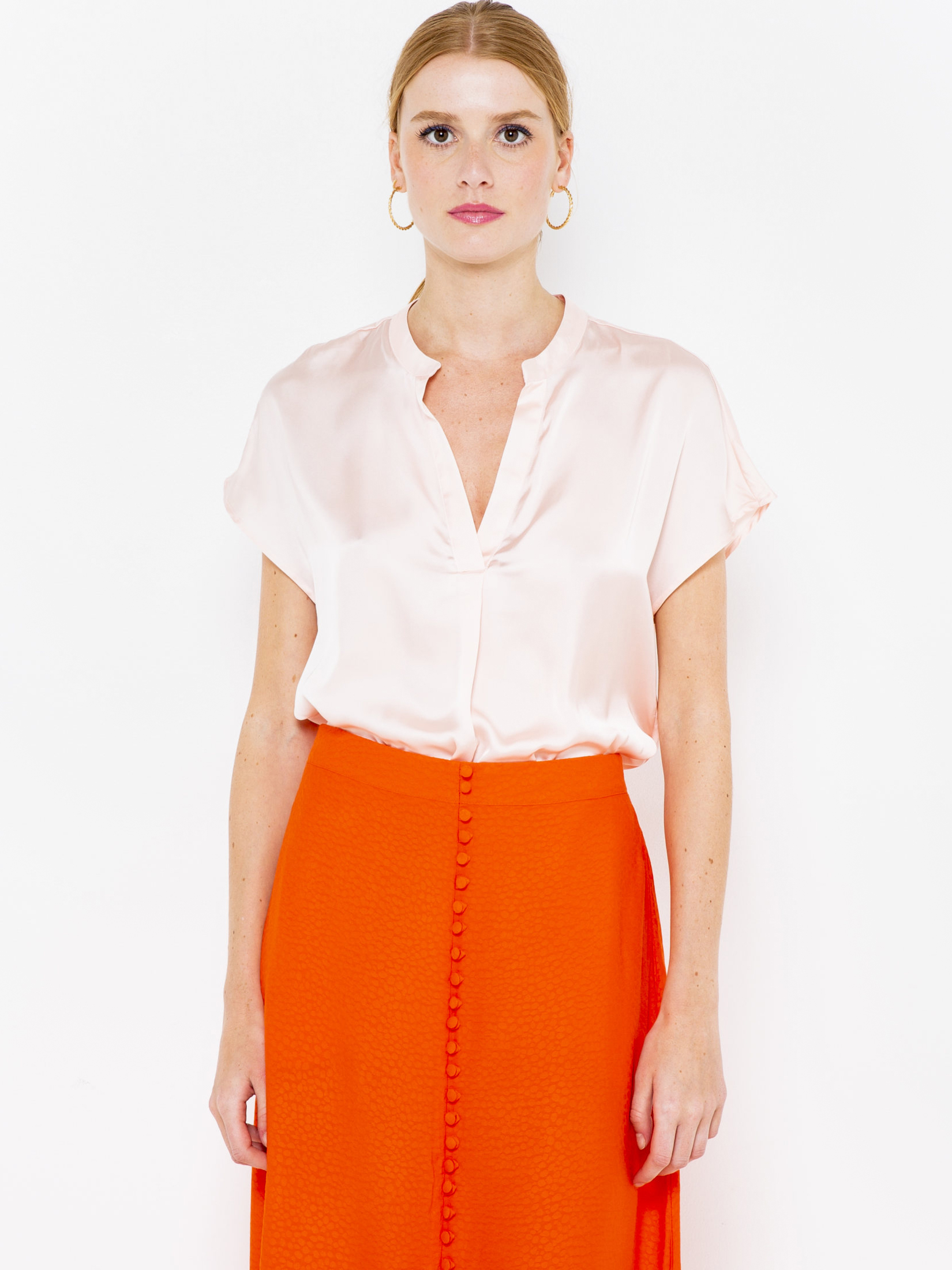 CAMAIEU różowy bluzka