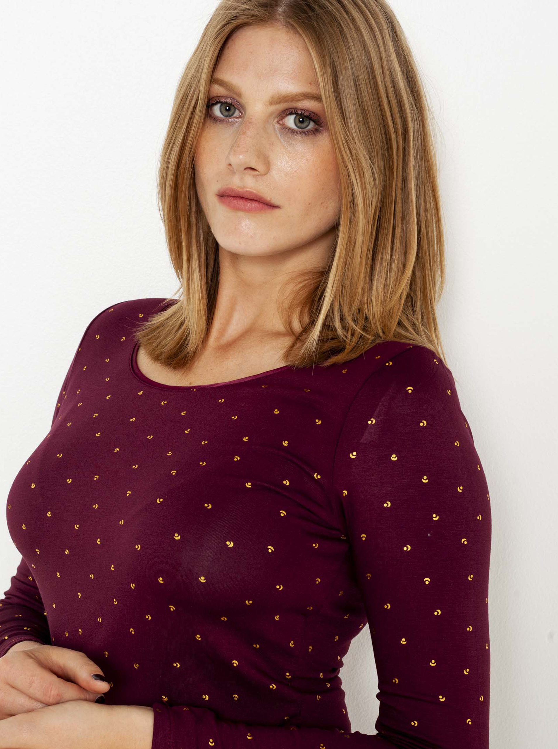 CAMAIEU Koszulka damska wiśniowy