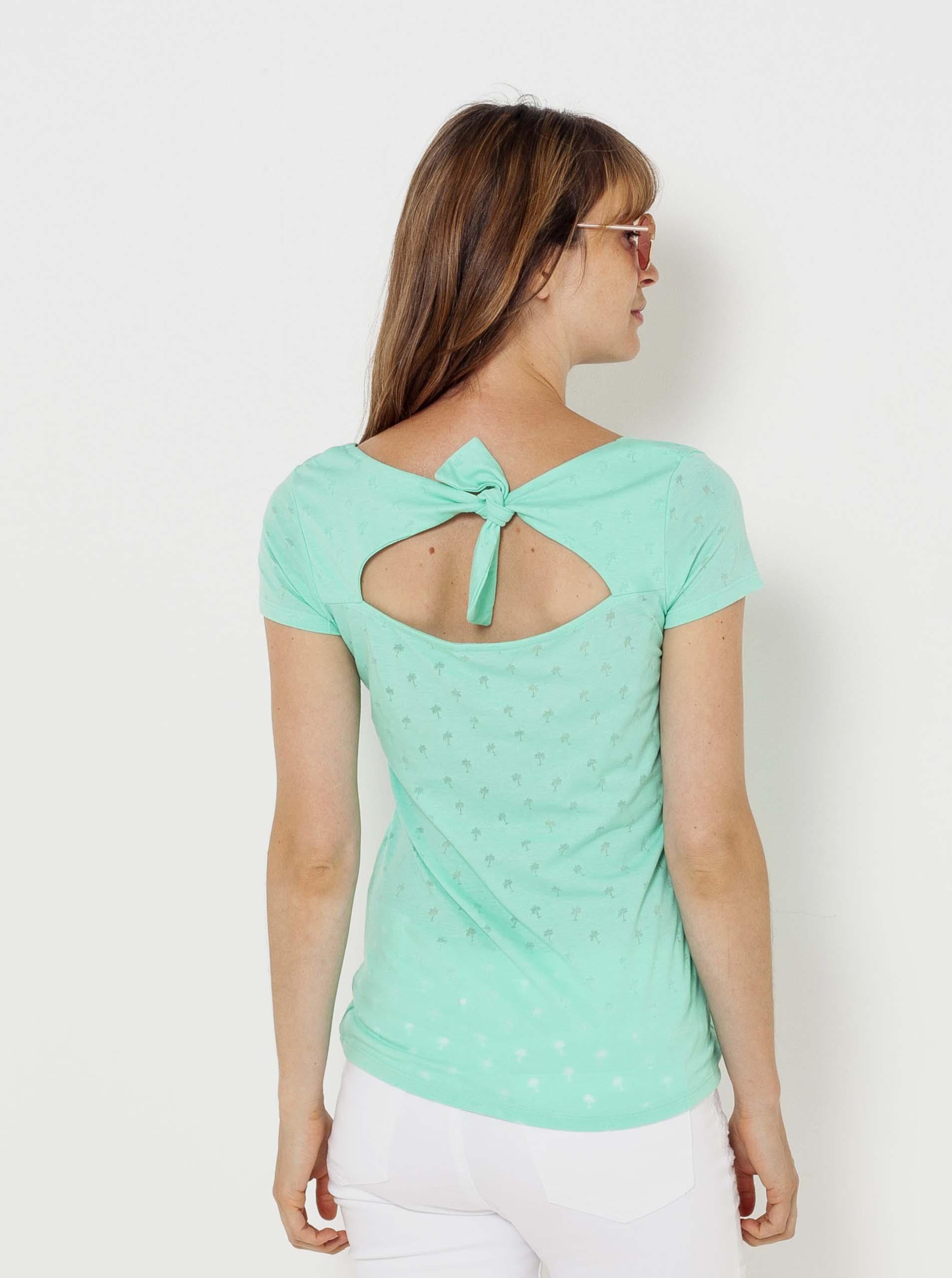 CAMAIEU turkusowy koszulka z wzorem