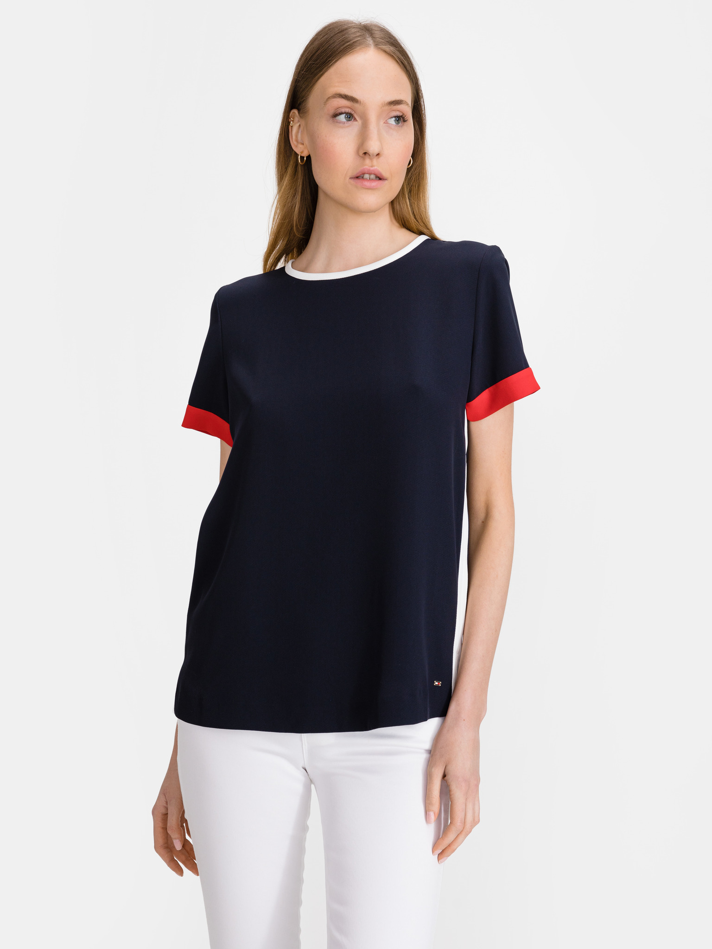 Tommy Hilfiger niebieski damska koszulka Crepe Tipped