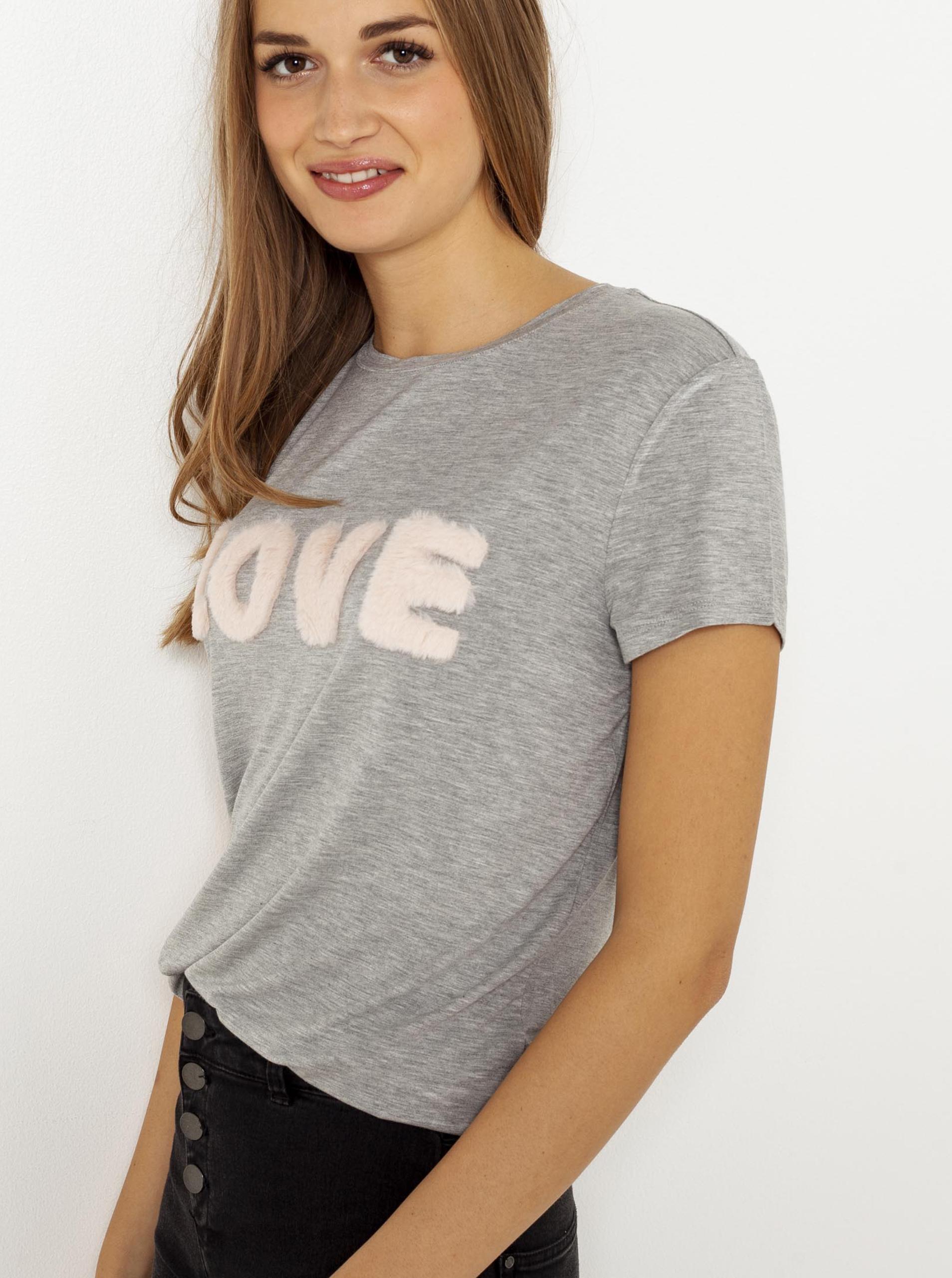 CAMAIEU szary koszulka z napisem