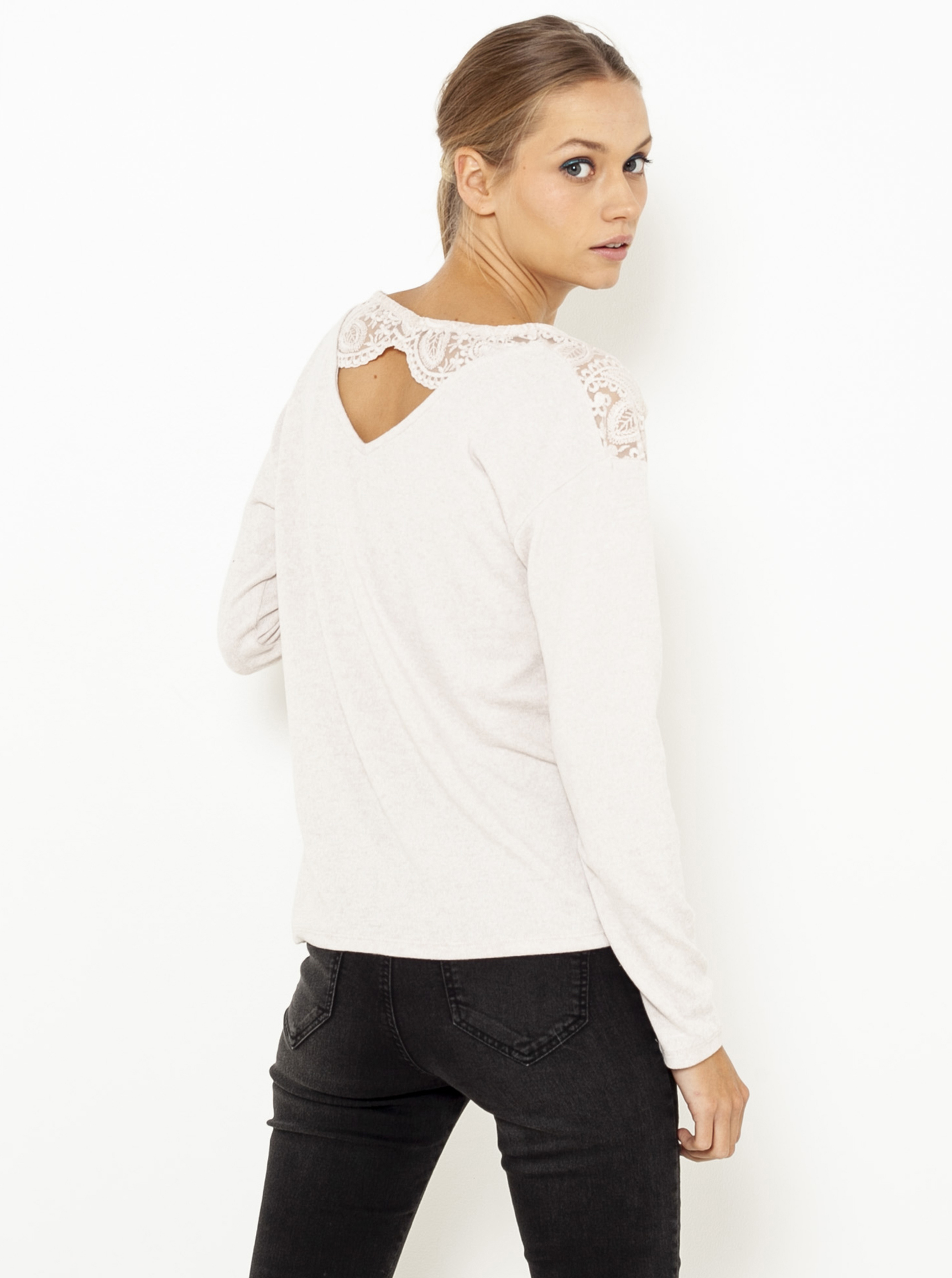 CAMAIEU écru/kremowy damska koszulka z koronką