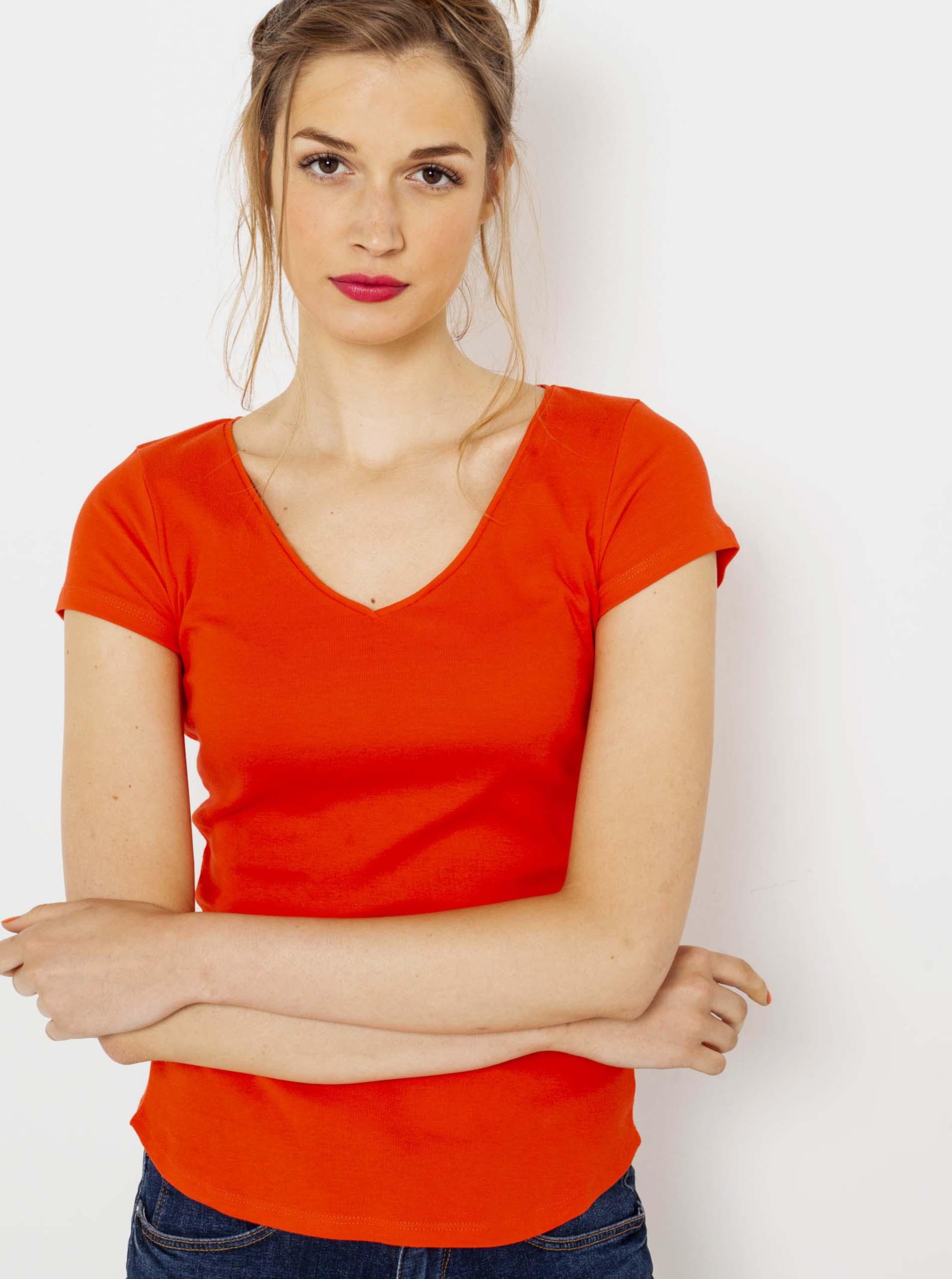 CAMAIEU pomarańczowy basic koszulka