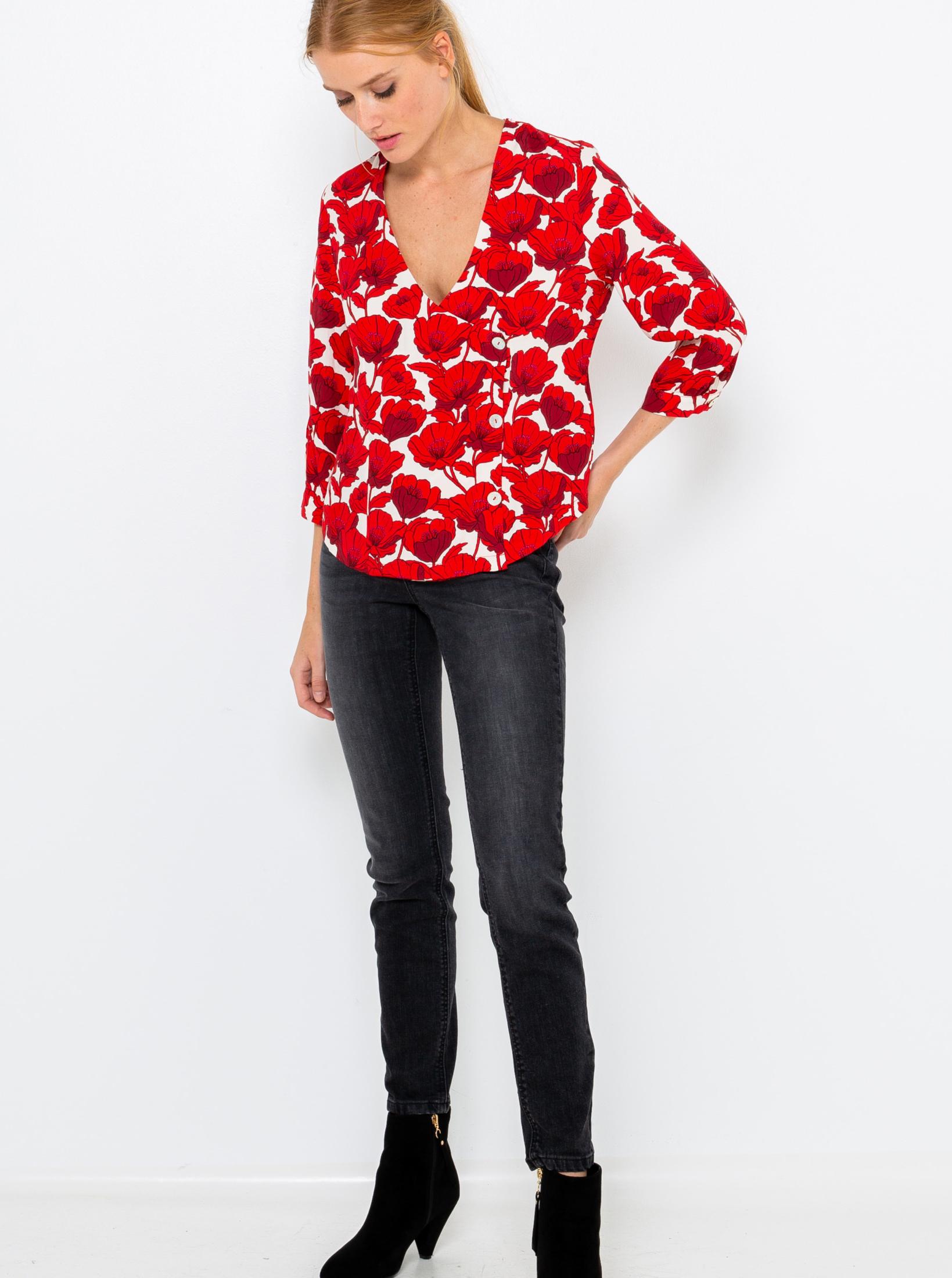 CAMAIEU czerwony bluzka z motywem kwiecistym