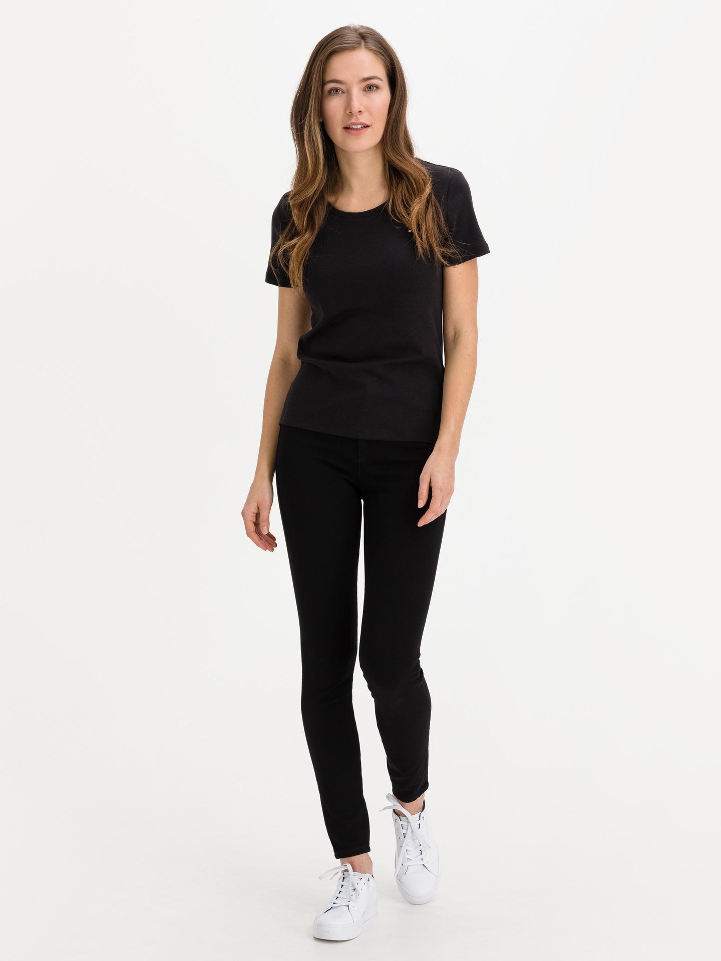 Tommy Hilfiger czarny damska koszulka Slim Round