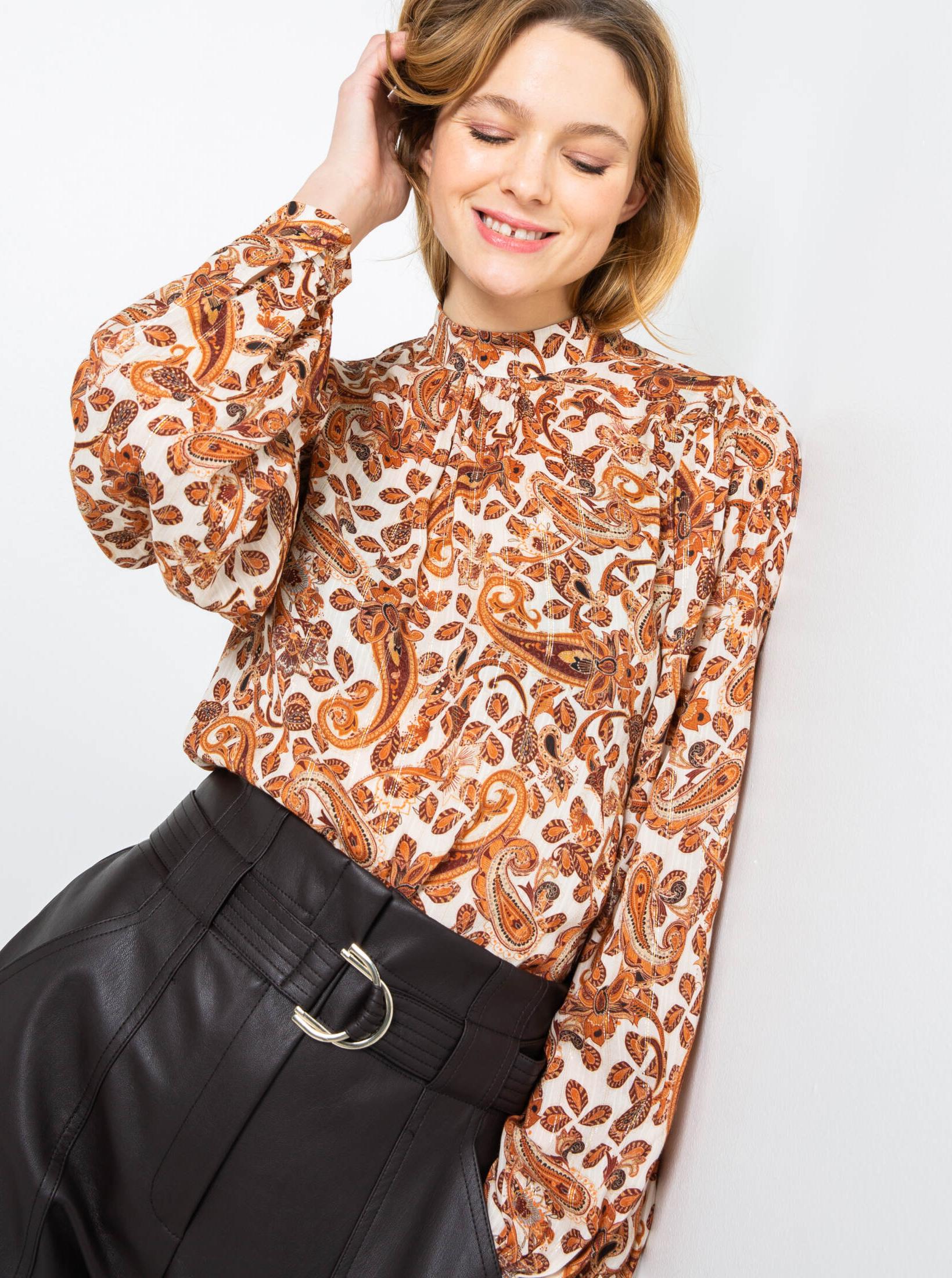 CAMAIEU brązowy bluzka z wzorem