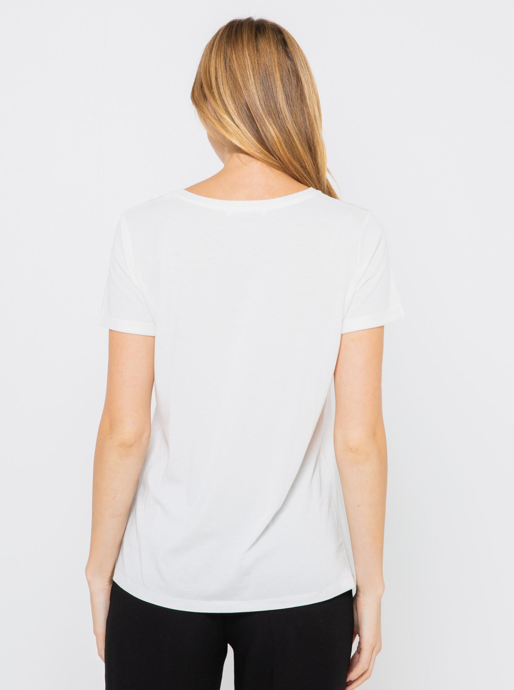 CAMAIEU biały koszulka z nadrukiem