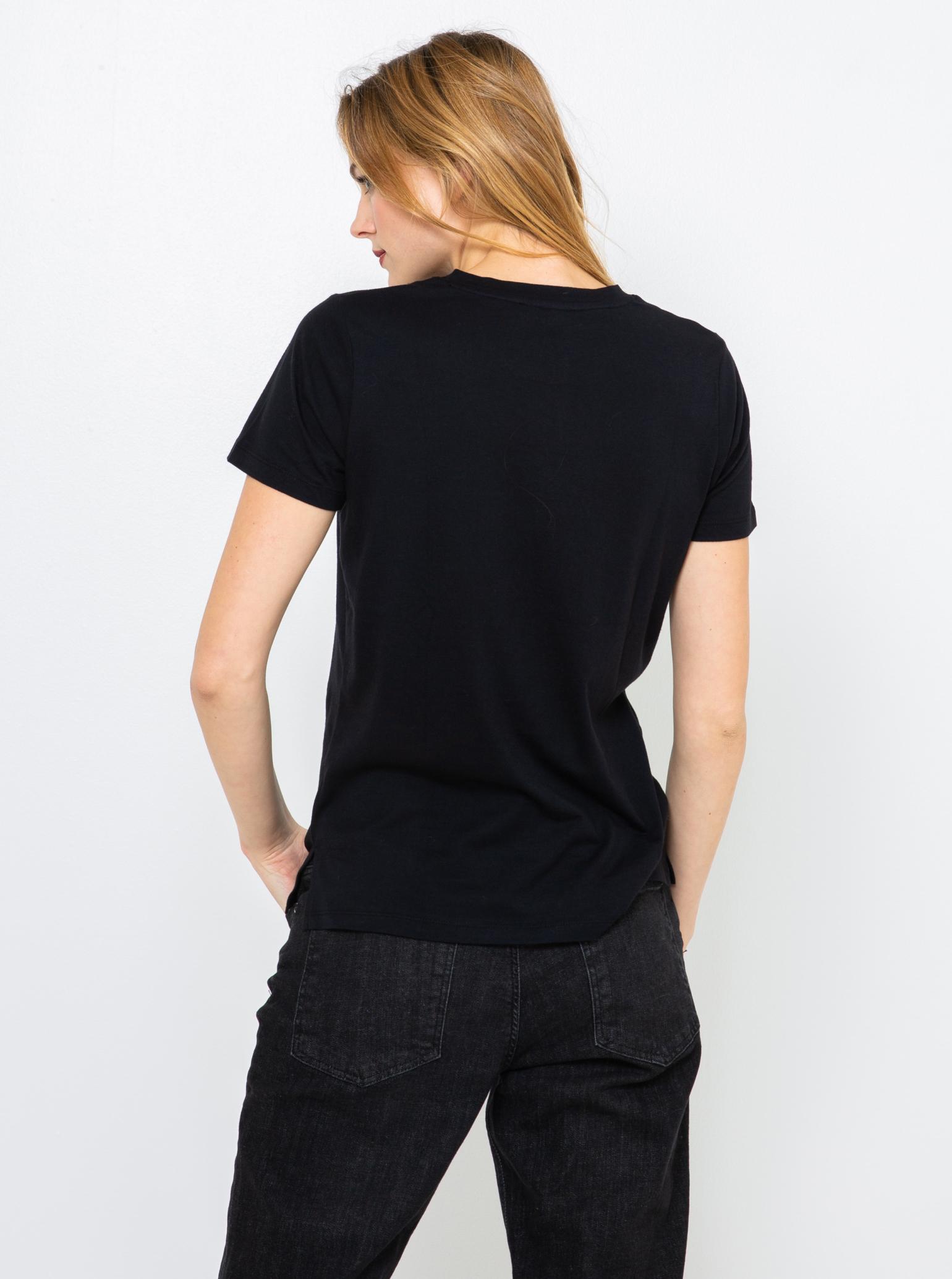 CAMAIEU czarny damska koszulka z nadrukiem