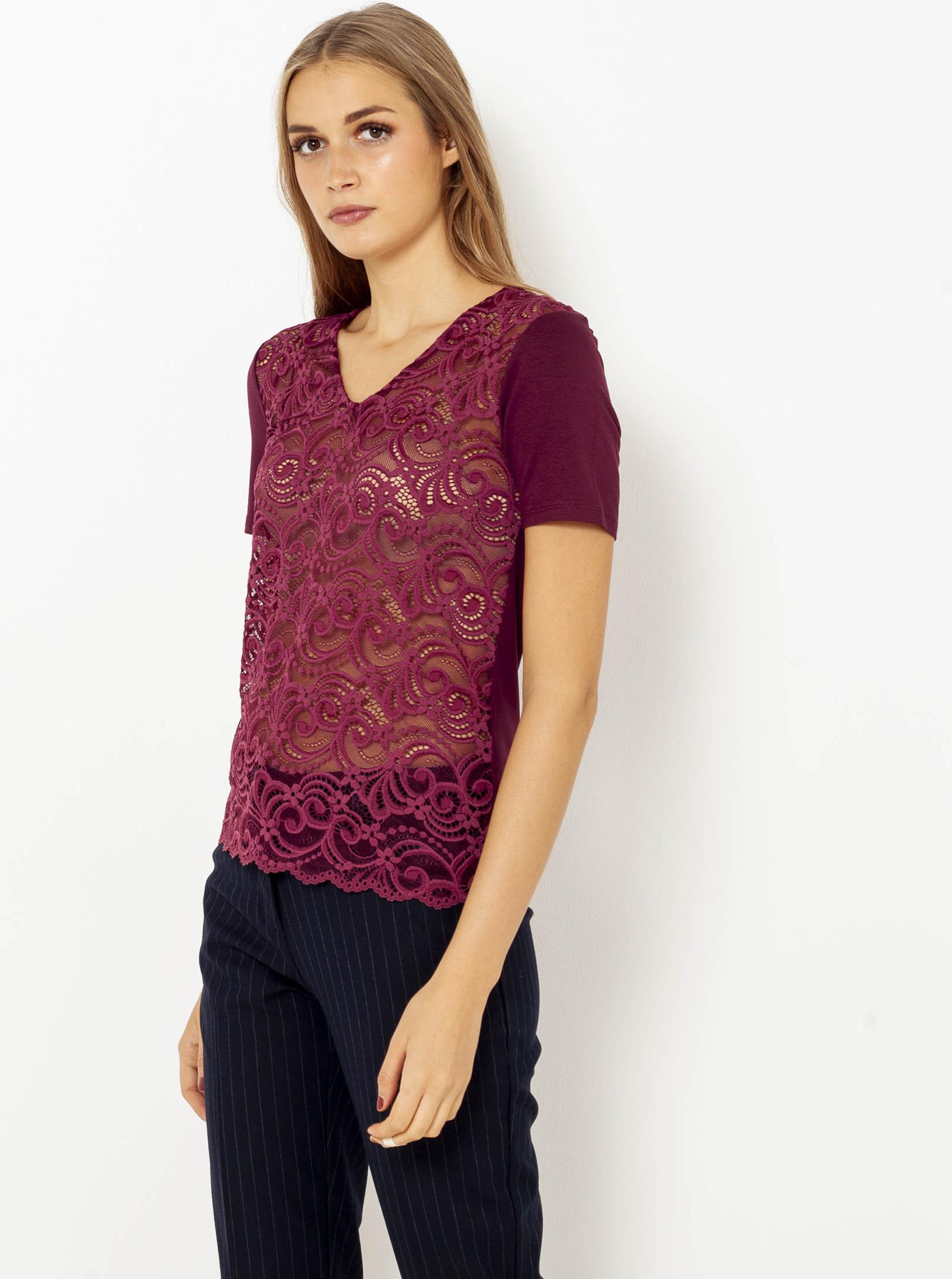 CAMAIEU wiśniowy/bordowy przezroczysta koszulka z koronką