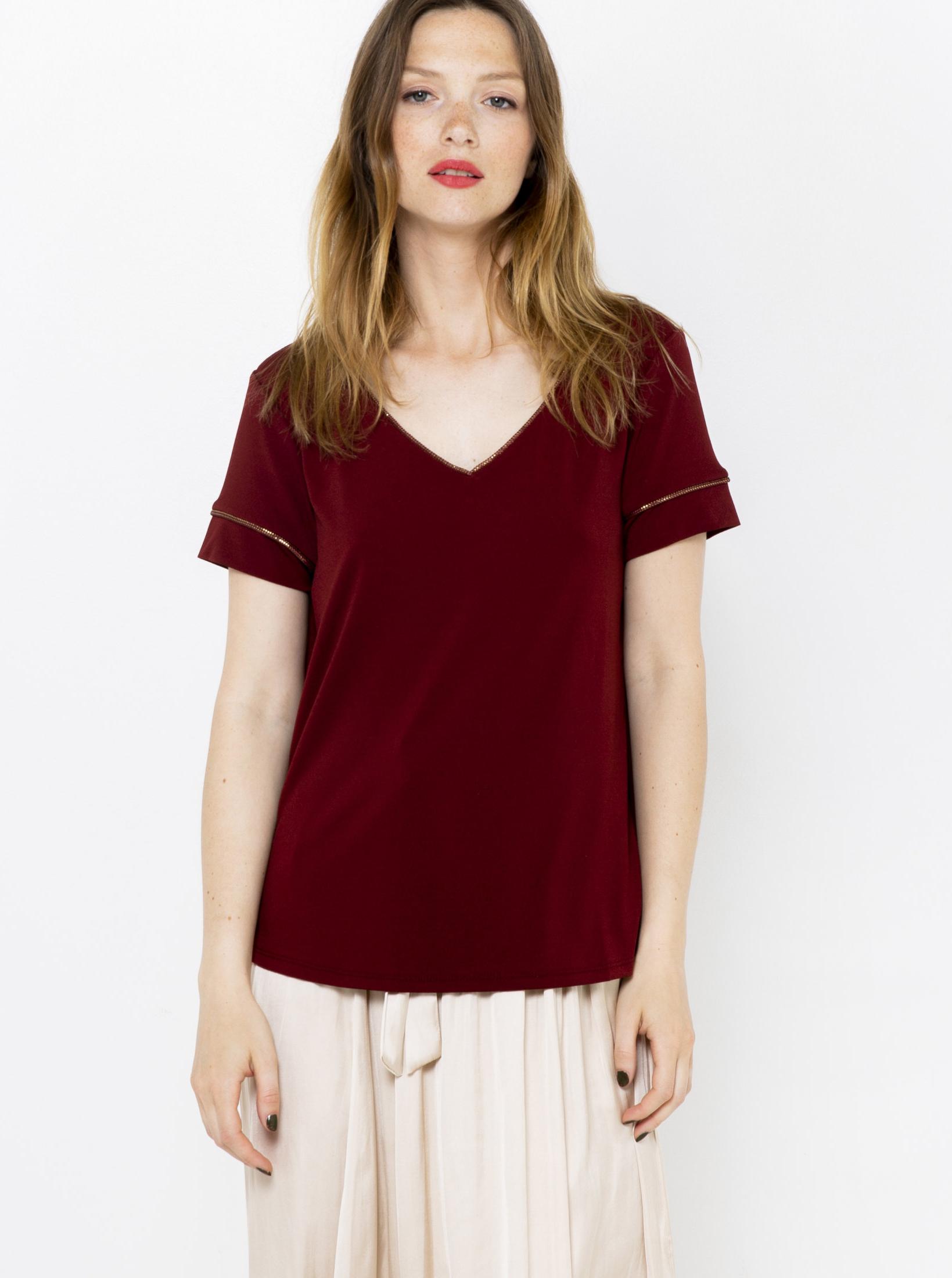 CAMAIEU wiśniowy/bordowy koszulka