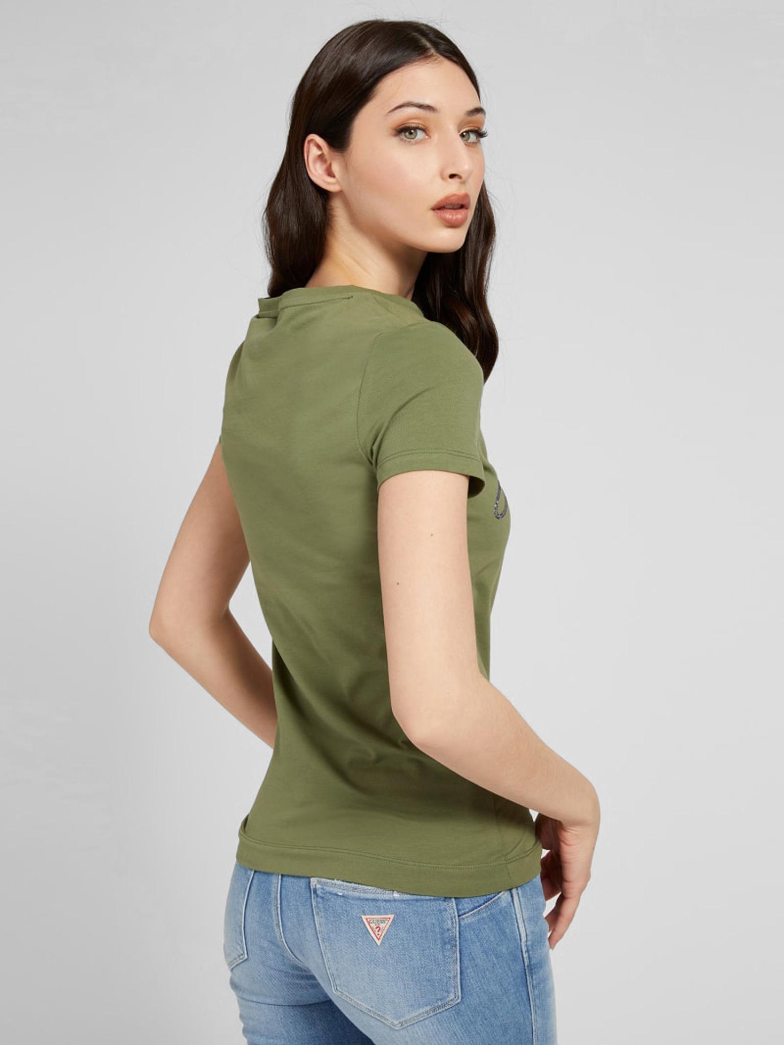 Guess Koszulka damska zielony Triko