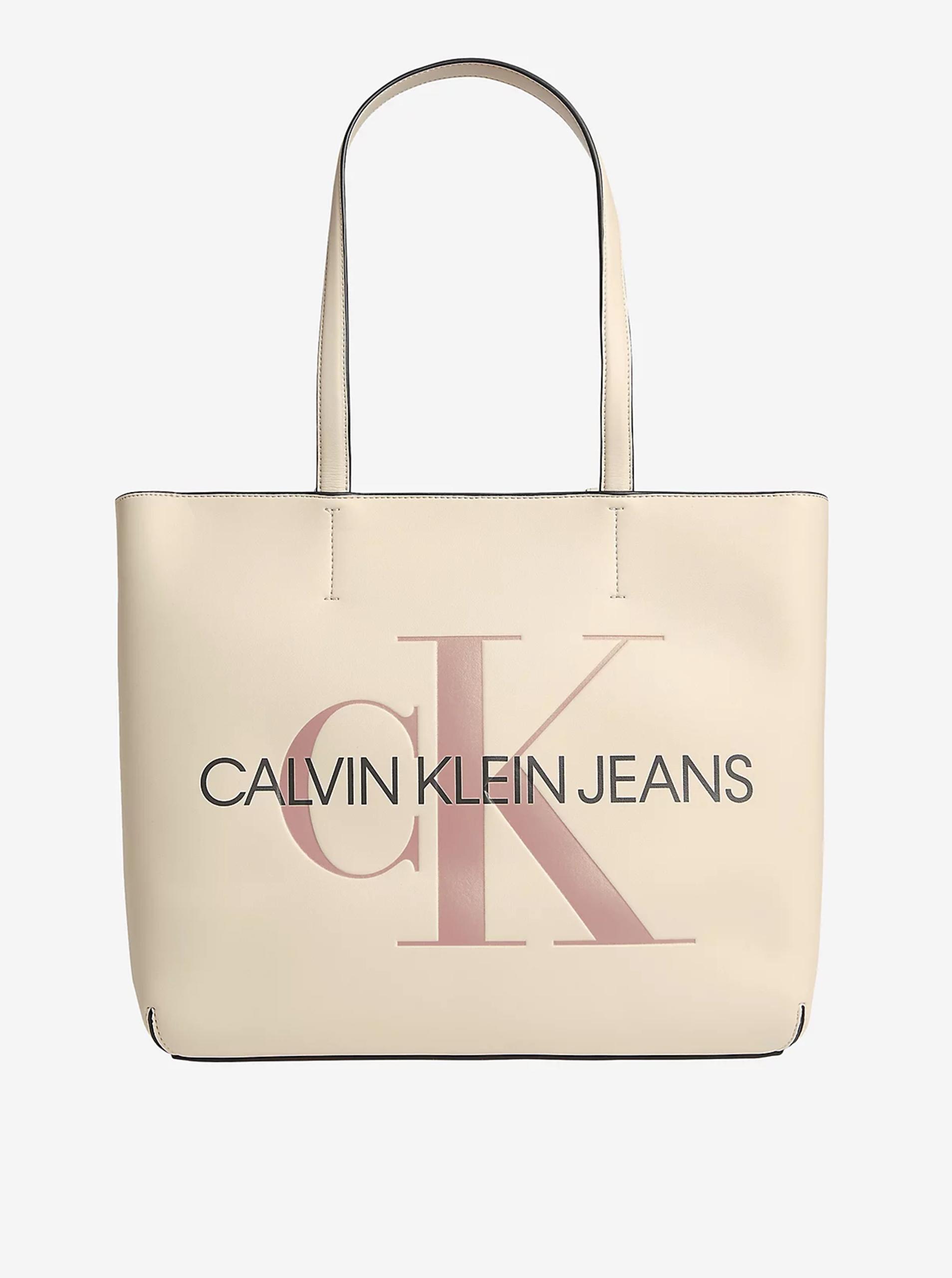 Calvin Klein écru/kremowy shopper