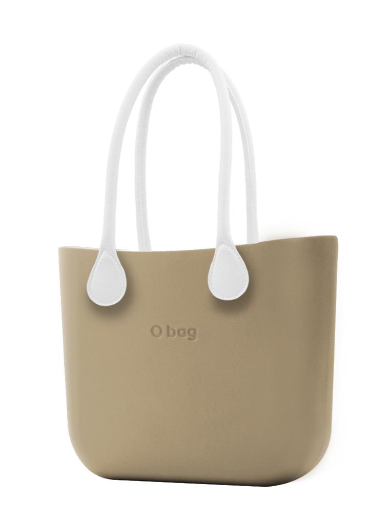 O bag  torebka Sabbia z długimi białymi uchwytami ze skajki