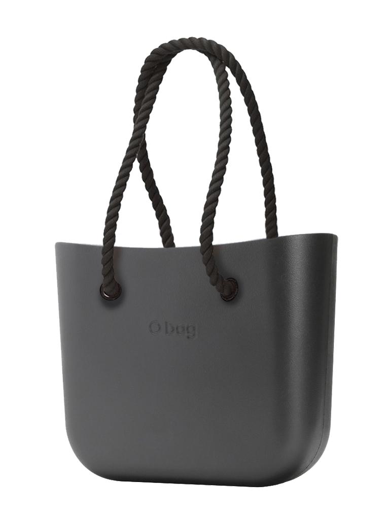O bag  MINI torebka Grafite z długimi czarnymi linami