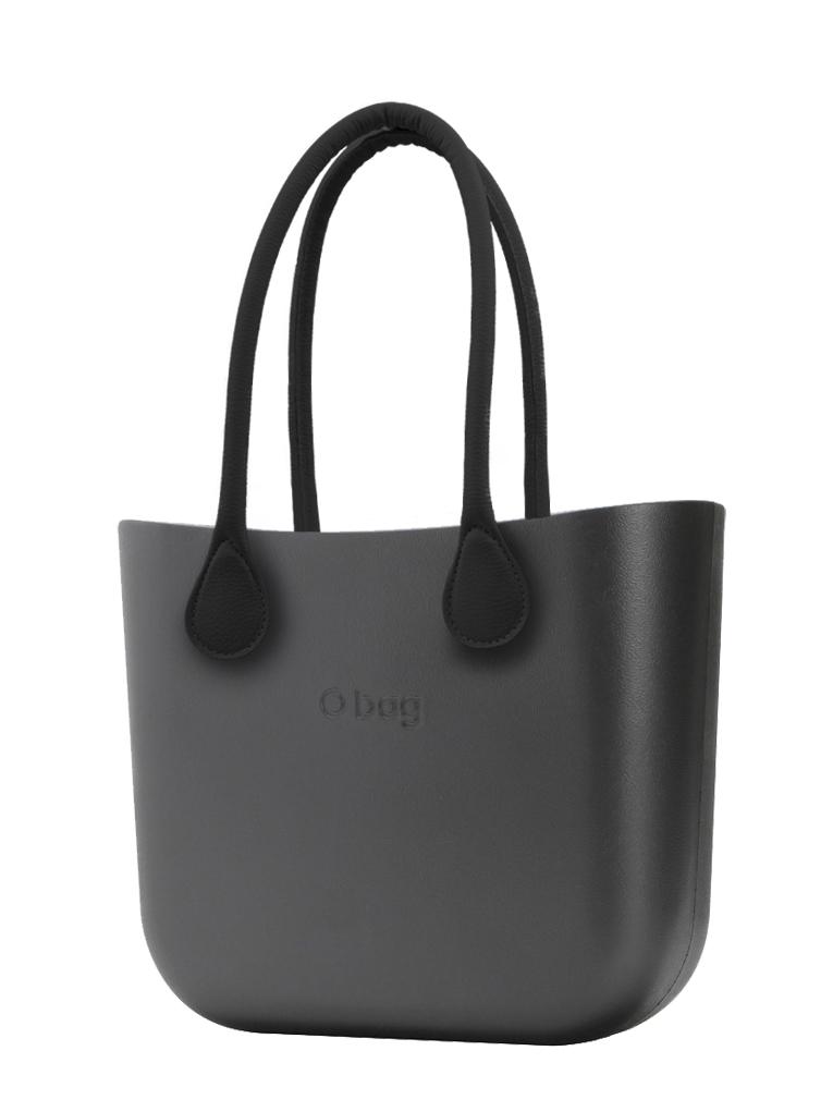 O bag  torebka MINI Grafite z długimi czarnymi uchwytami ze skajki