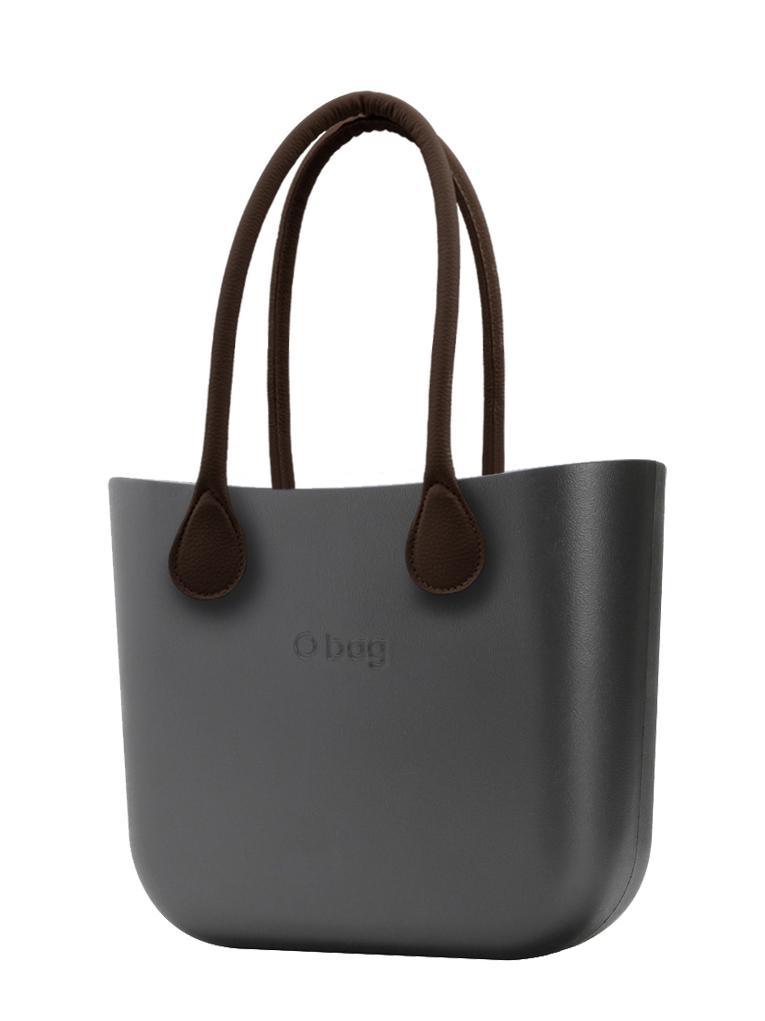 O bag  torebka MINI Grafite z długimi brązowymi uchwytami ze skajki