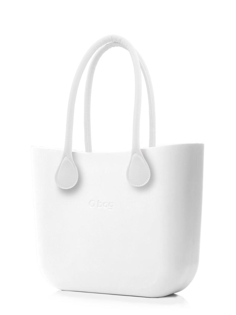 O bag  biały torebka MINI Bianco z długimi białymi uchwytami ze skajki