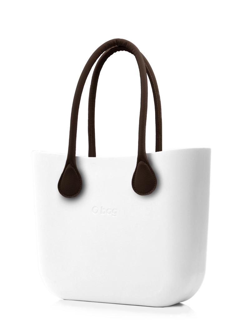 O bag  biały torebka MINI Bianco z długimi brązowymi uchwytami ze skajki