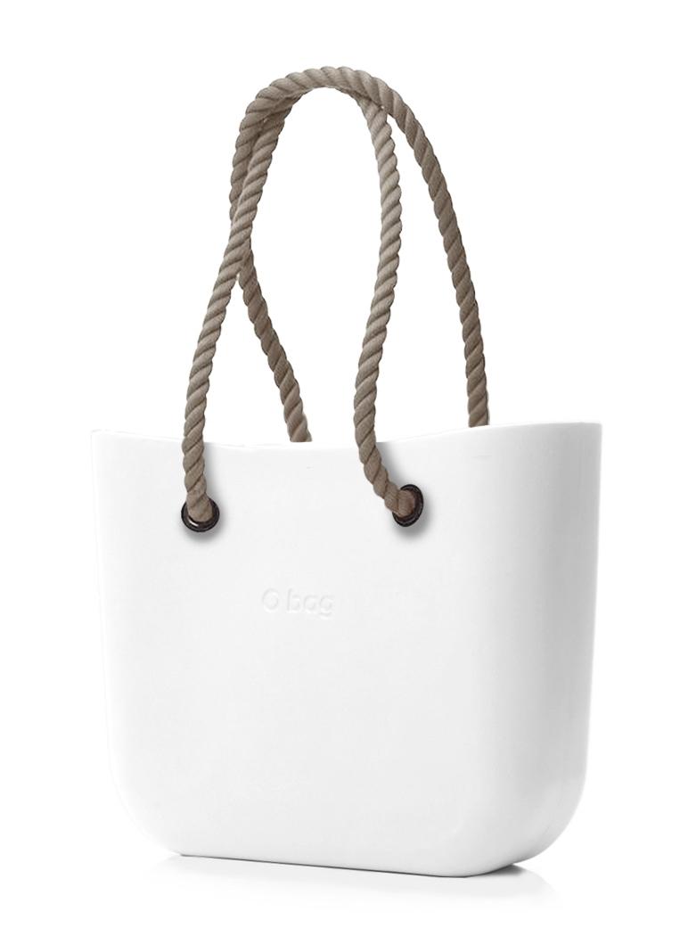 O bag  biały torebka MINI Bianco z długimi linami natural